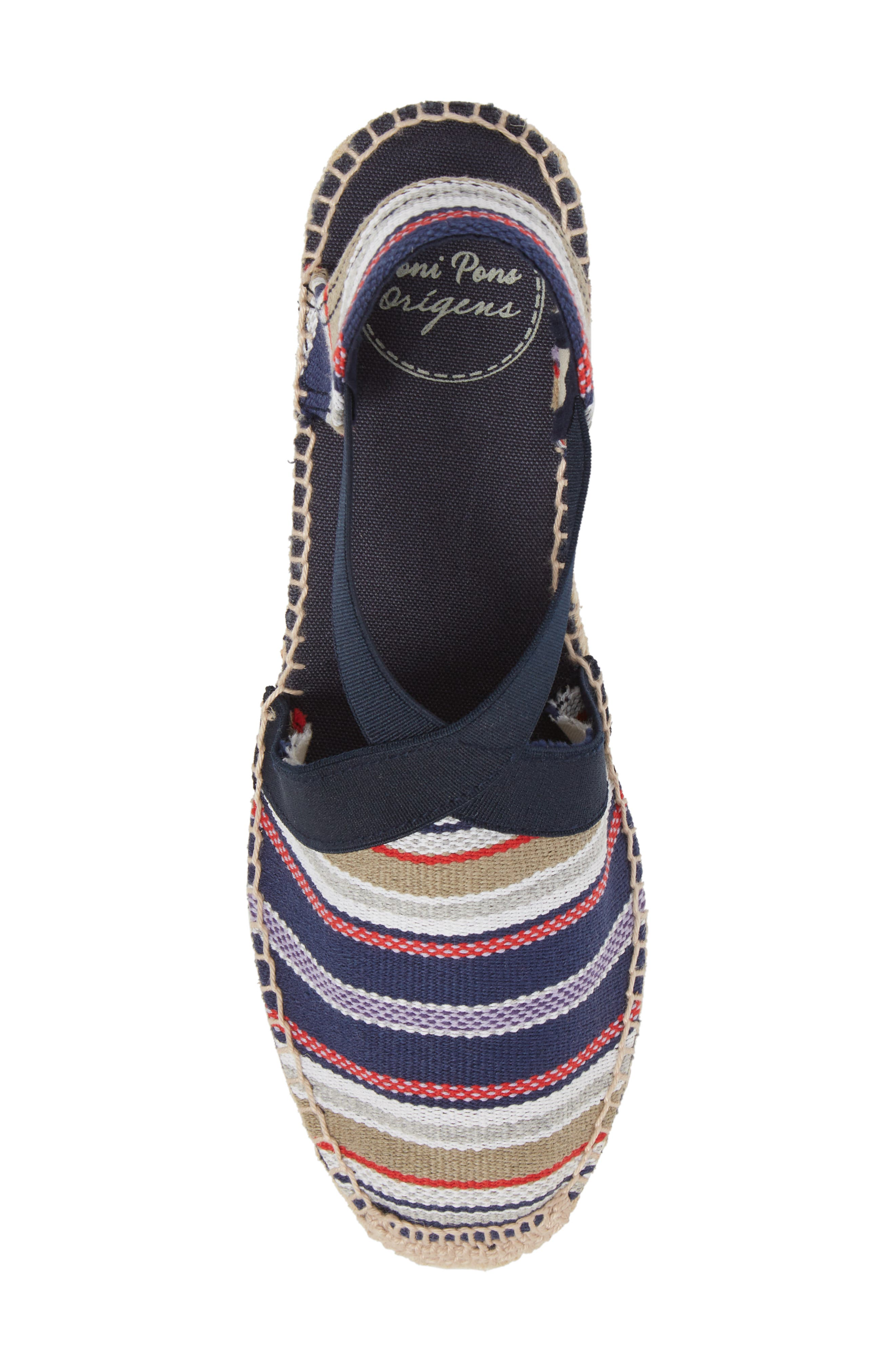 'Tarbes' Espadrille Wedge Sandal,                             Alternate thumbnail 5, color,                             Navy Fabric