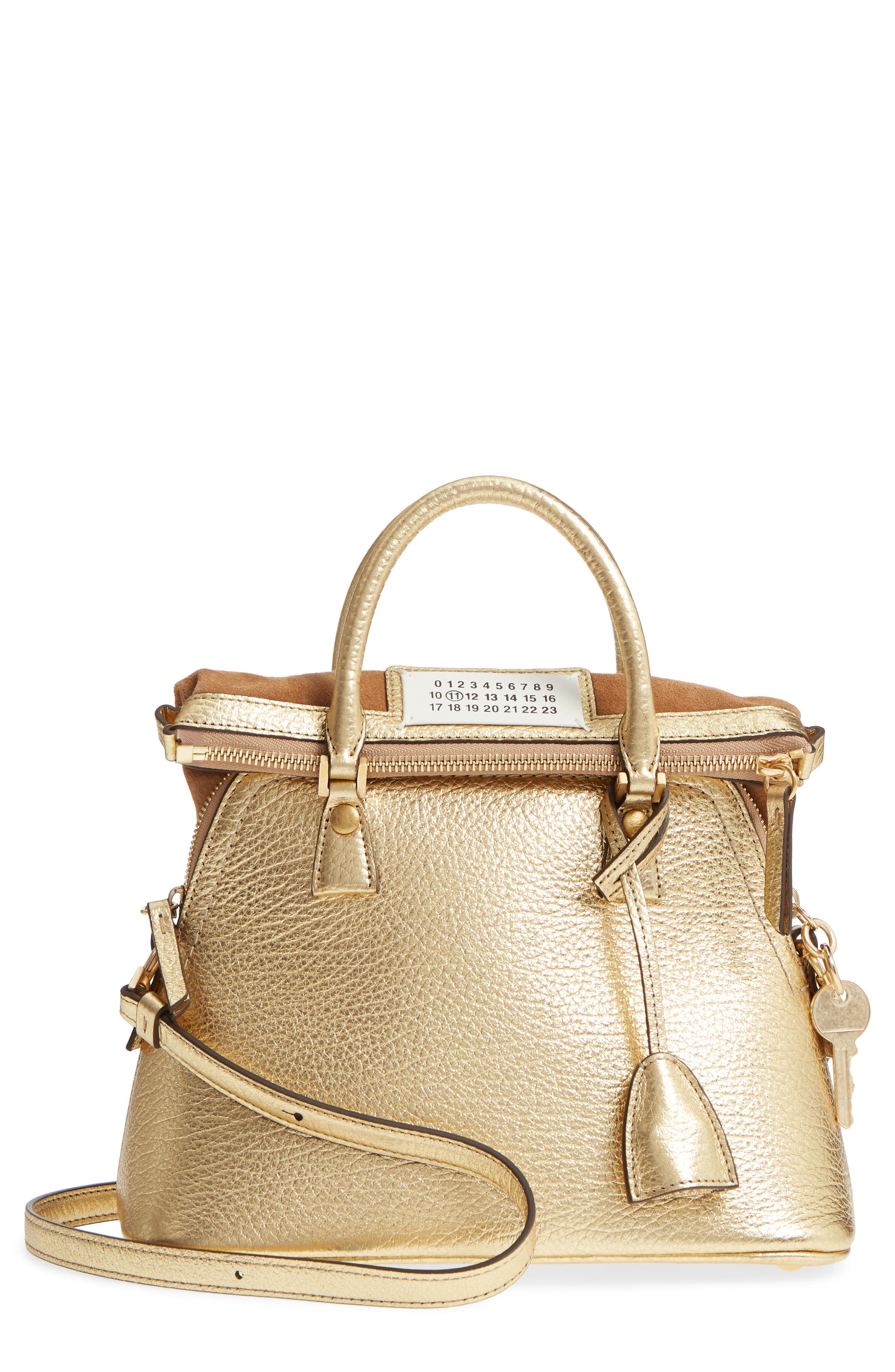 Small 5AC Calfskin Leather Handbag,                             Main thumbnail 1, color,                             Gold