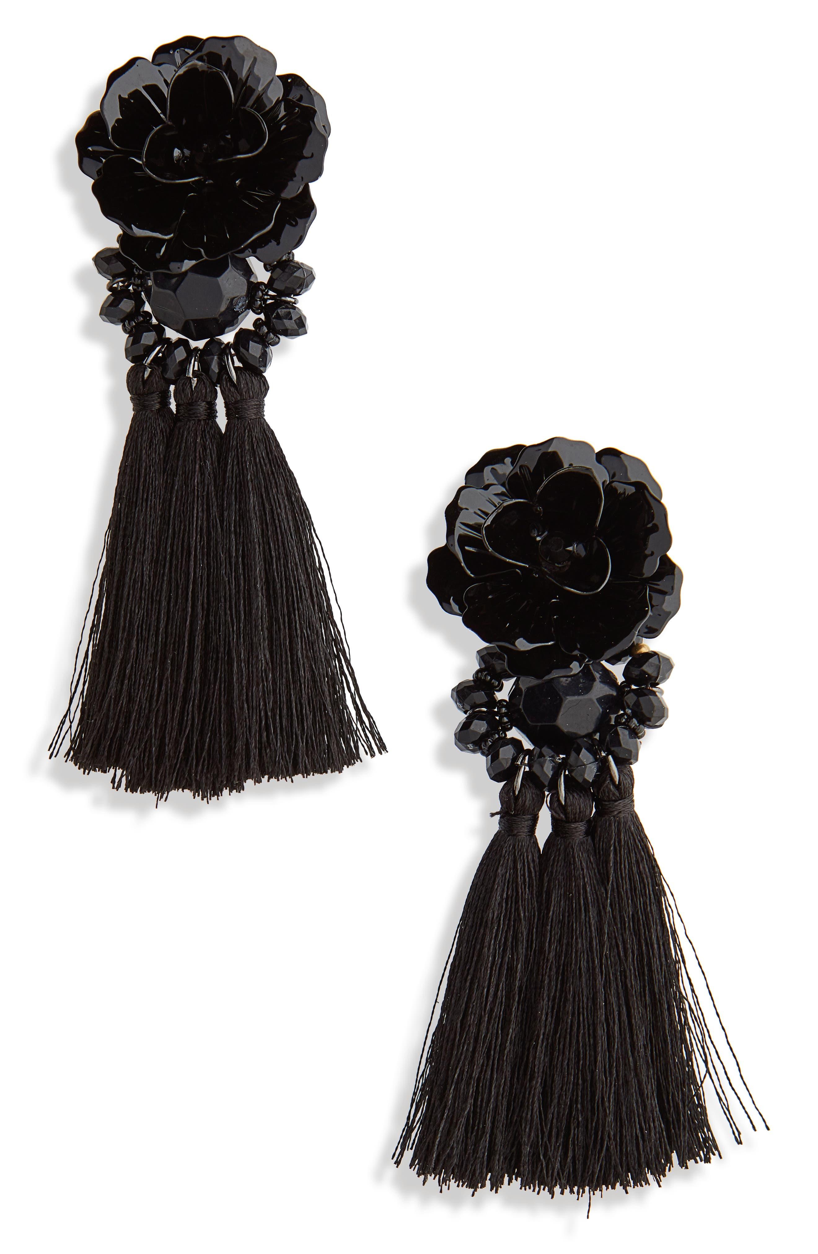 Flower Tassel Drop Earrings,                             Main thumbnail 1, color,                             Black