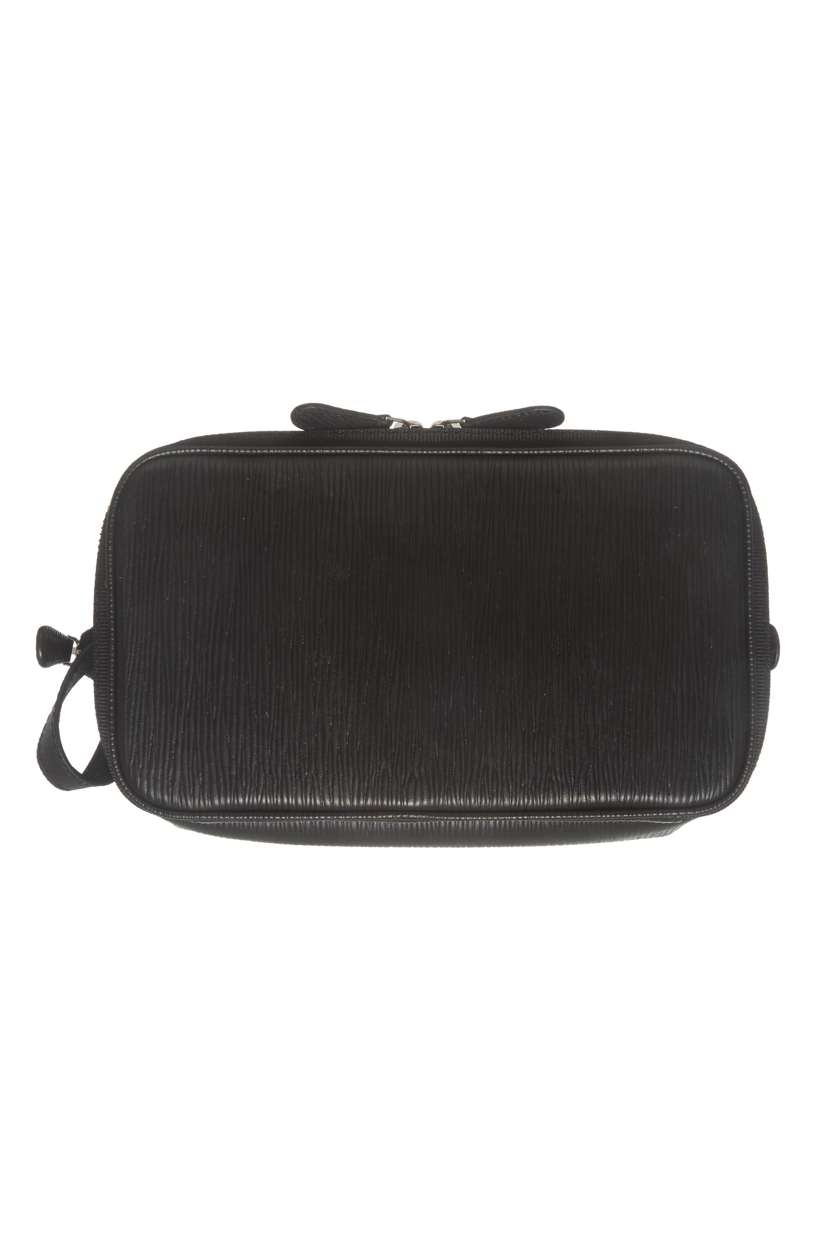 Kitter Leather Dopp Kit,                             Alternate thumbnail 5, color,                             Black