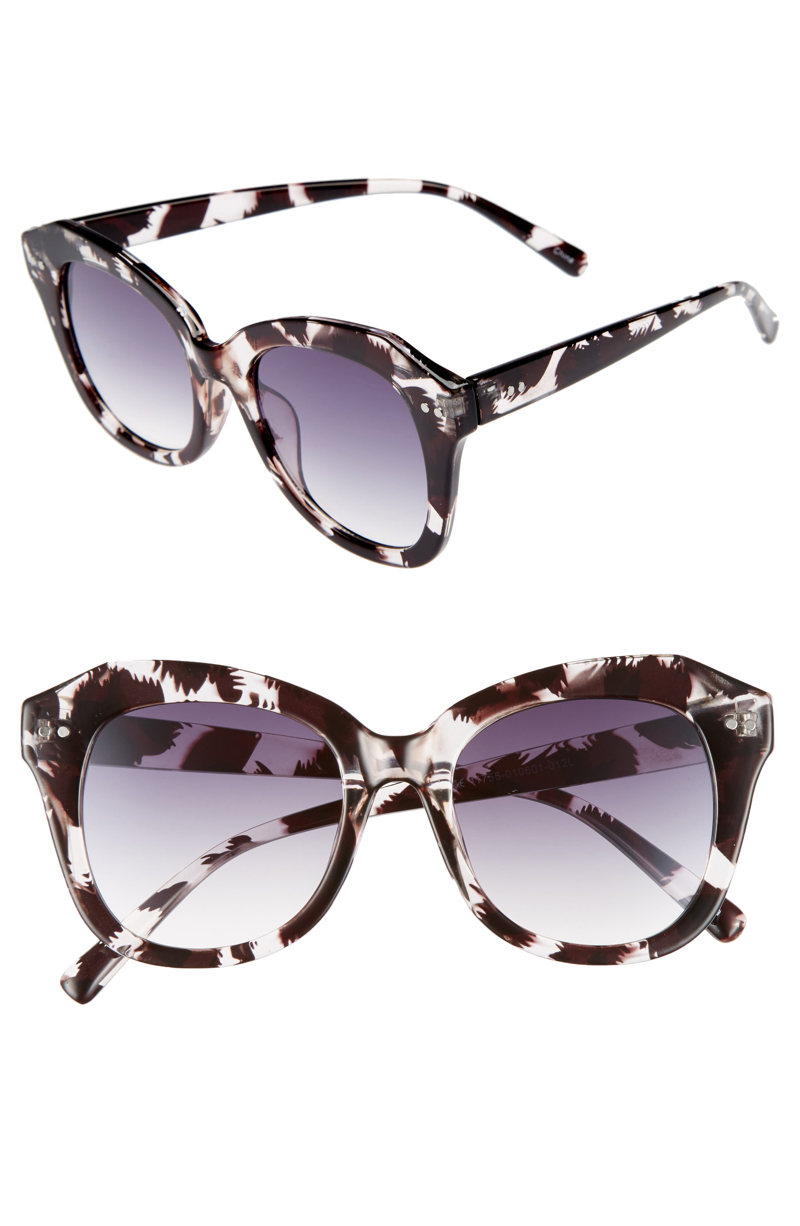 Marbled Square Sunglasses,                             Main thumbnail 1, color,                             Black/ Clear