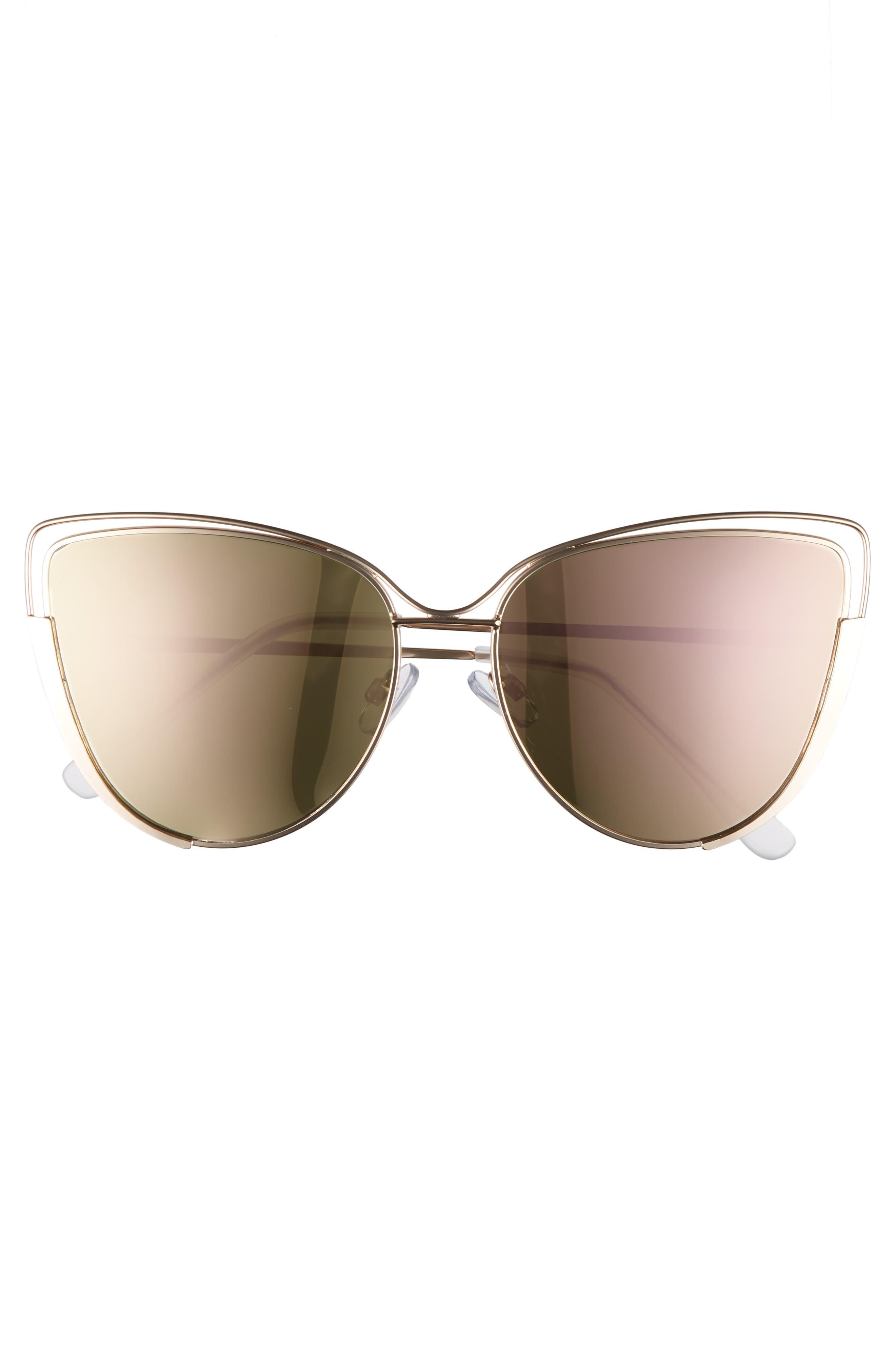 Futuristic Cat Eye Sunglasses,                             Alternate thumbnail 3, color,                             Gold