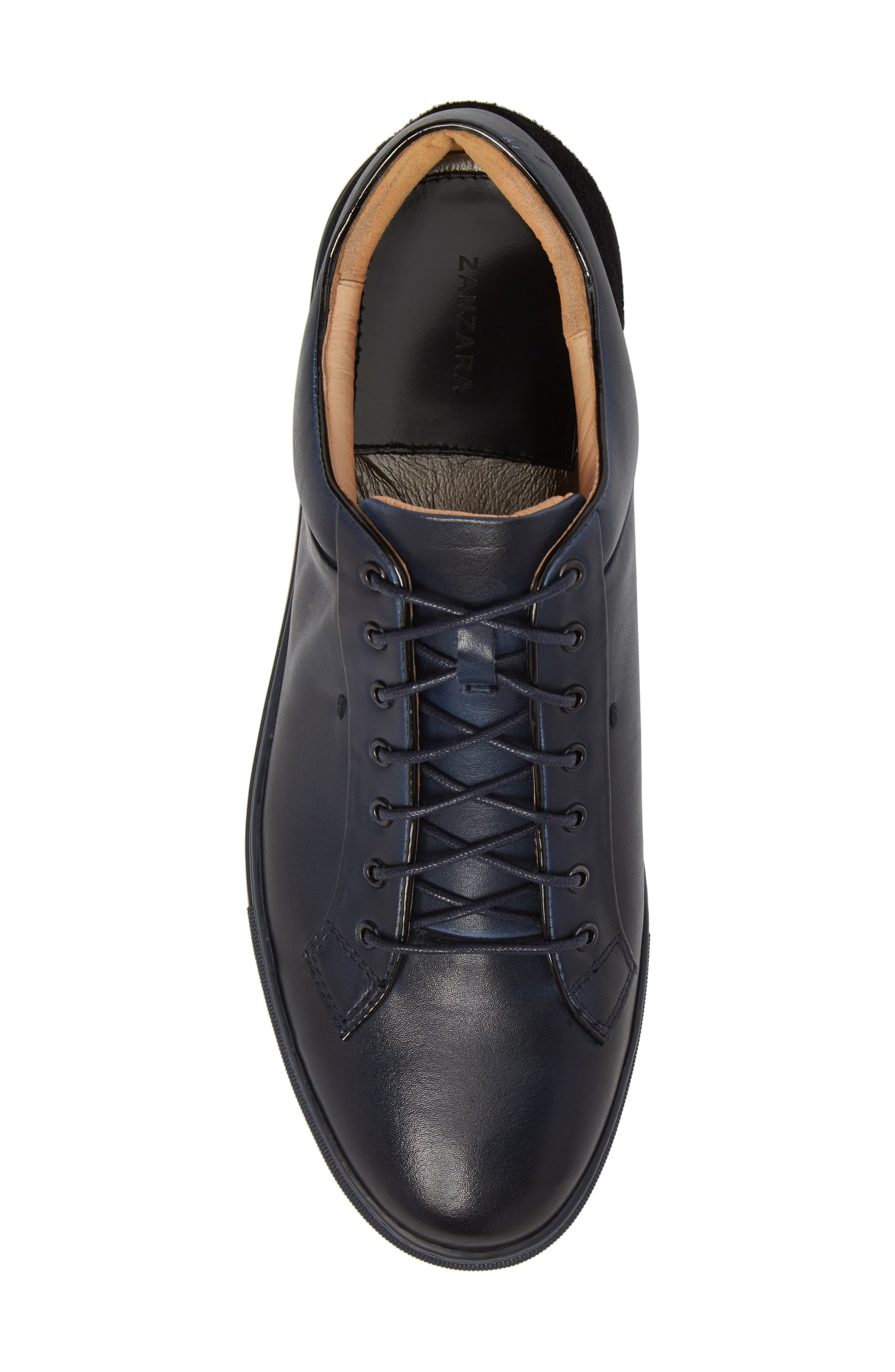 Pitch Low Top Sneaker,                             Alternate thumbnail 5, color,                             Navy Leather/ Suede