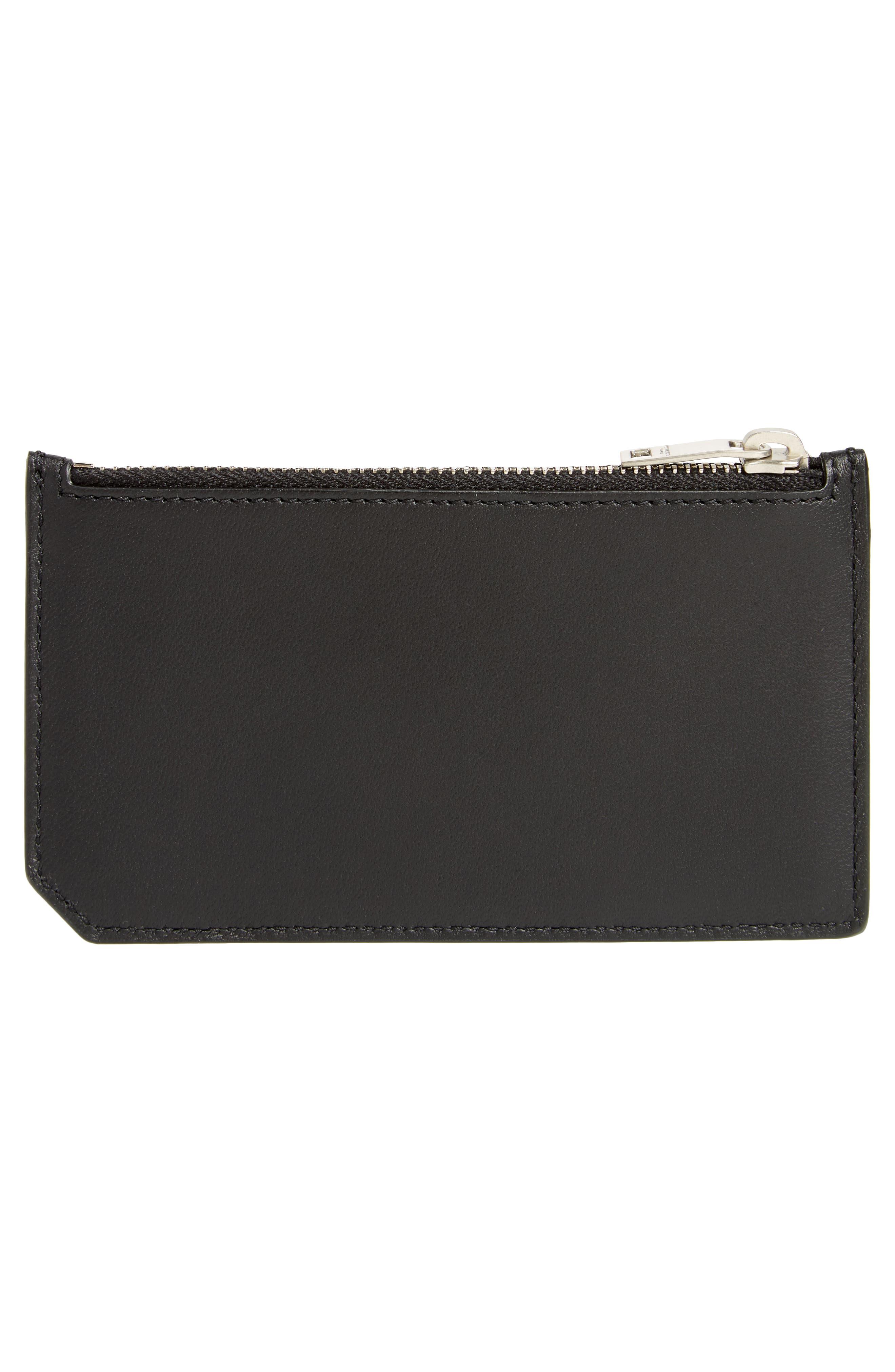 Leather Card Case,                             Alternate thumbnail 2, color,                             Black Multi