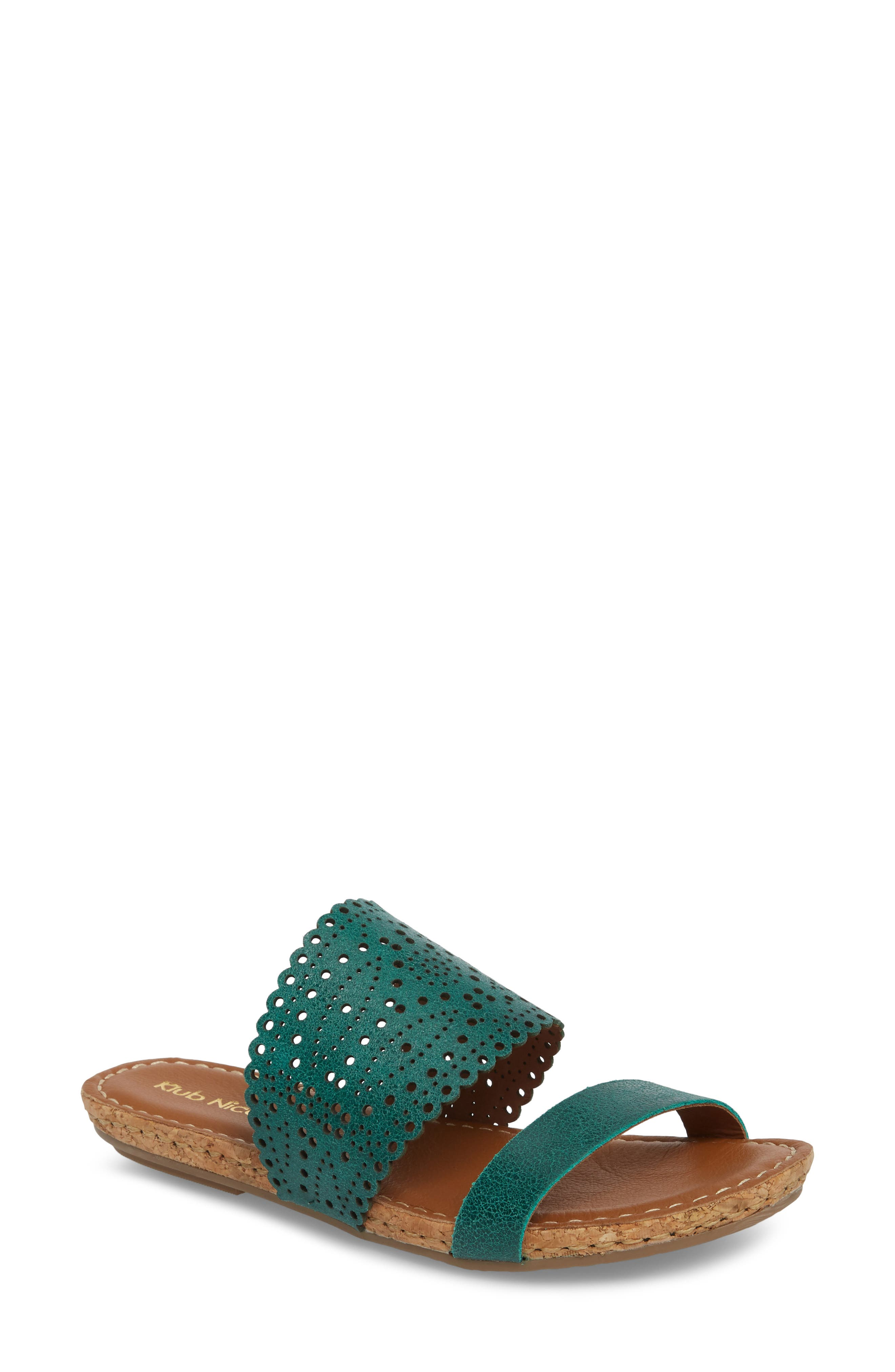 Ginette Perforated Slide Sandal,                         Main,                         color, Ivy Leather