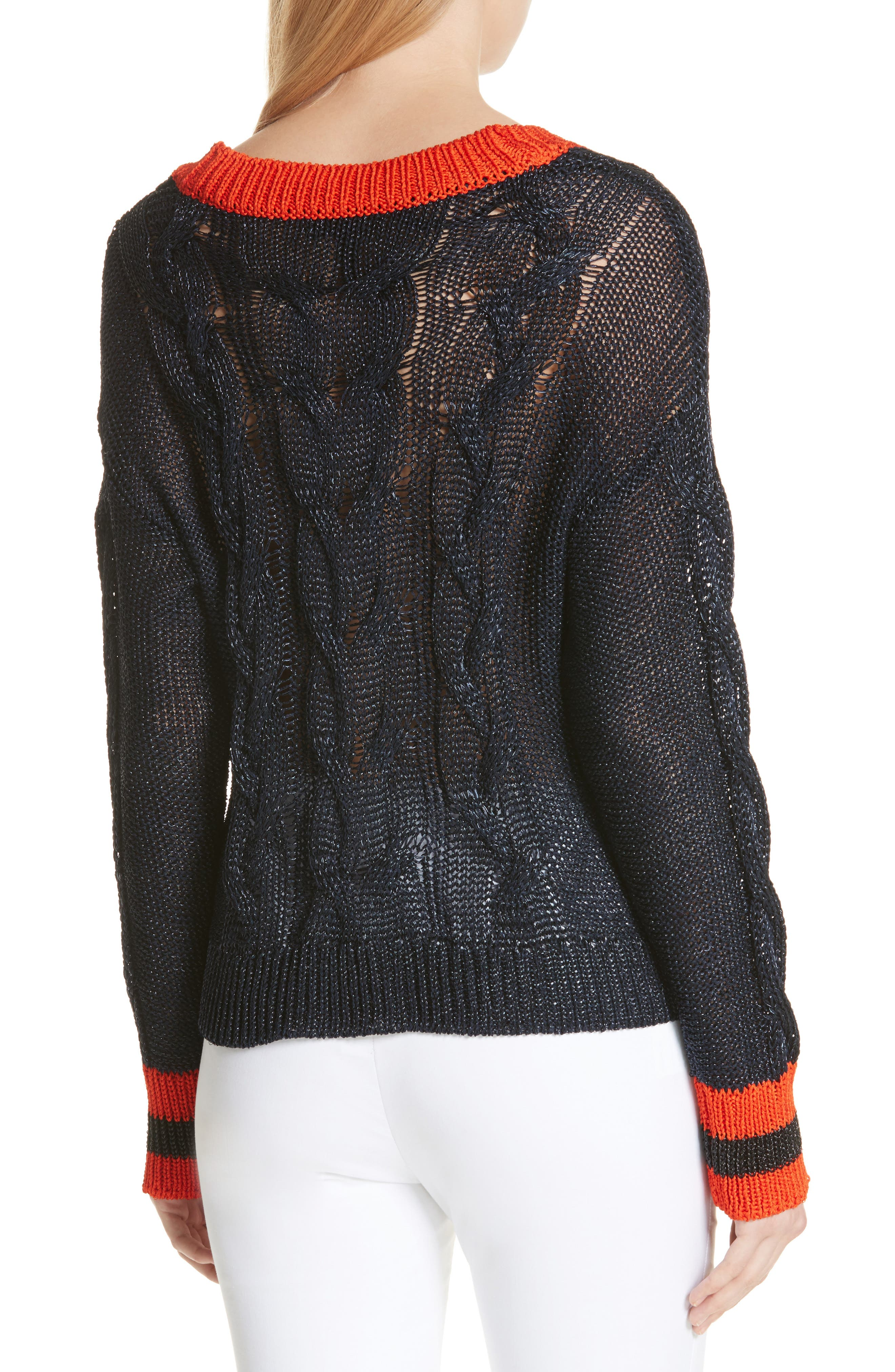 Emma Cable Knit Sweater,                             Alternate thumbnail 2, color,                             Navy