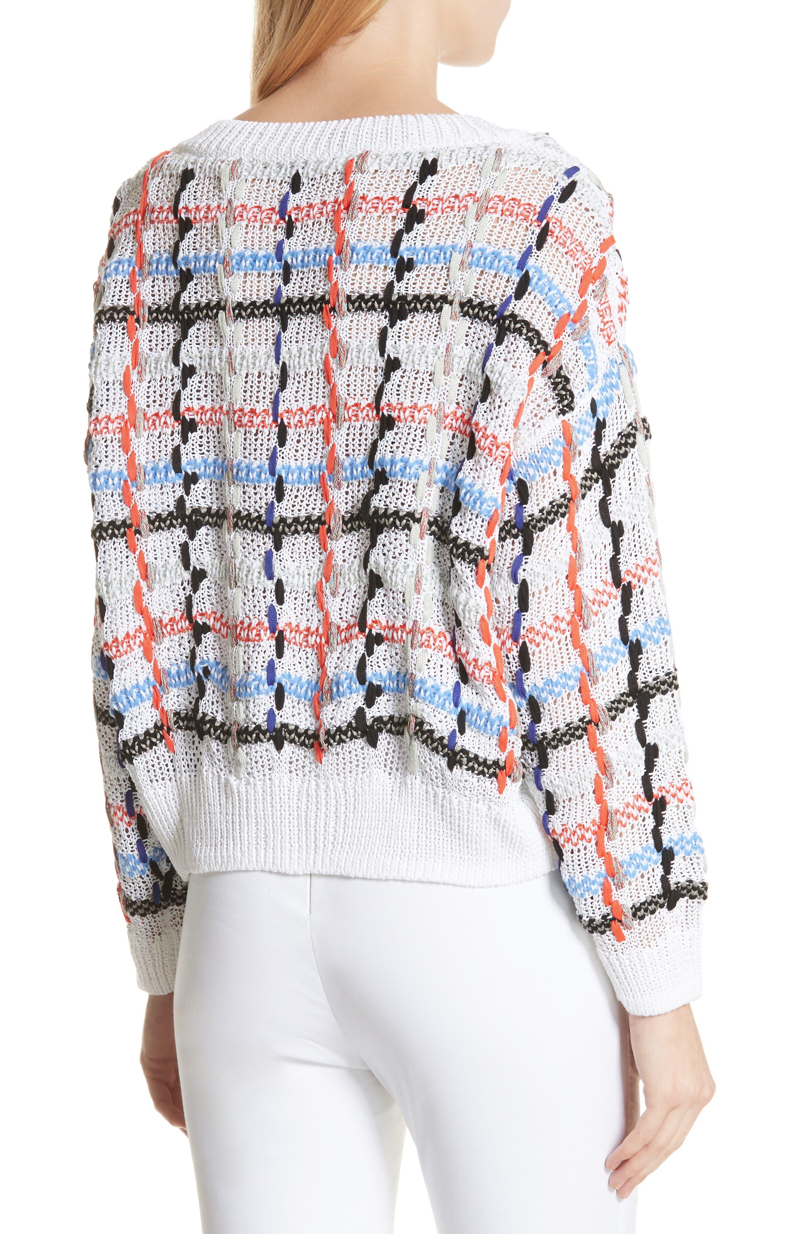 Lloyd Ribbon Detail Plaid Sweater,                             Alternate thumbnail 2, color,                             White