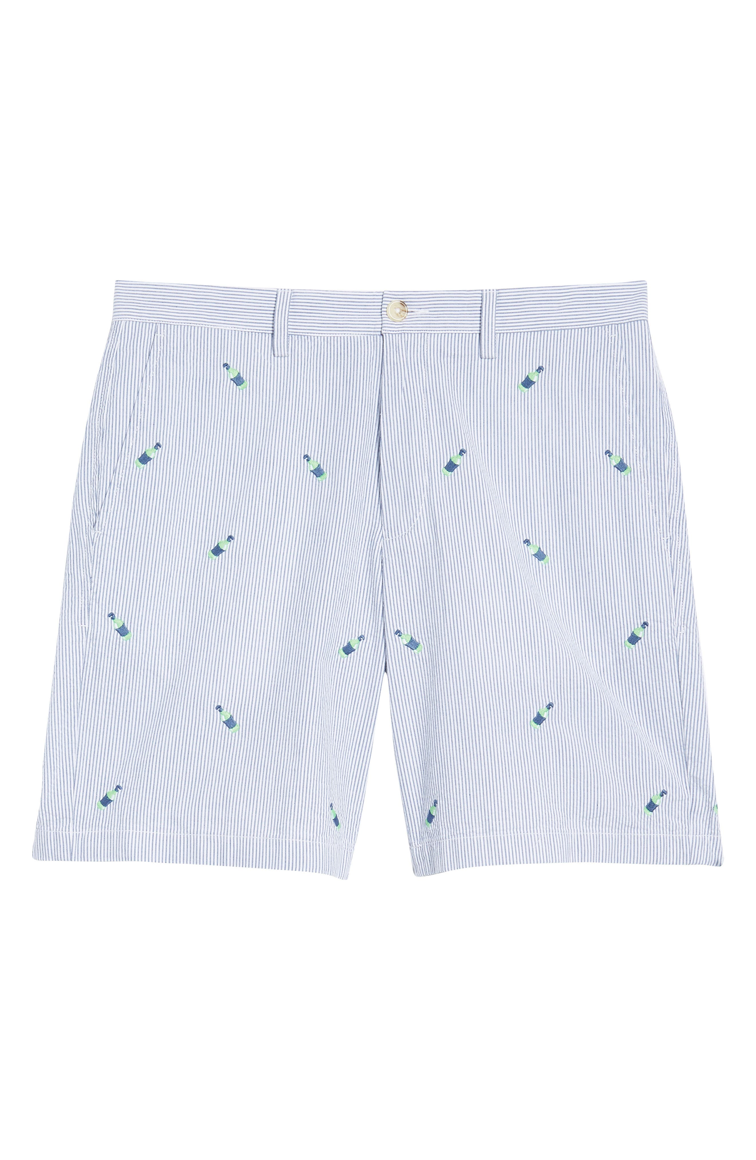 Embroidered Seersucker Shorts,                             Alternate thumbnail 6, color,                             Seven Seas Blue