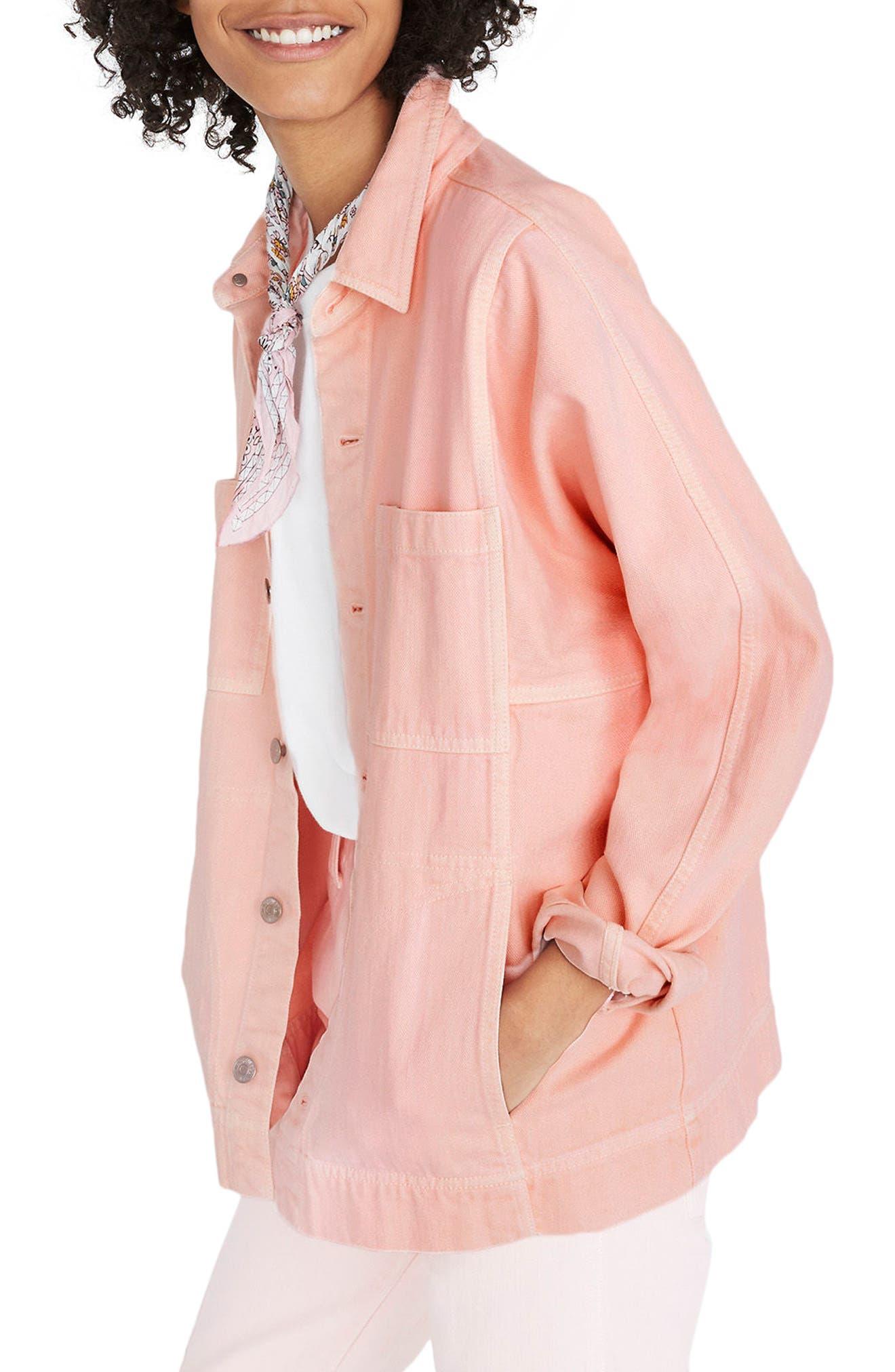 Pink Denim Chore Coat,                         Main,                         color, Faded Coral