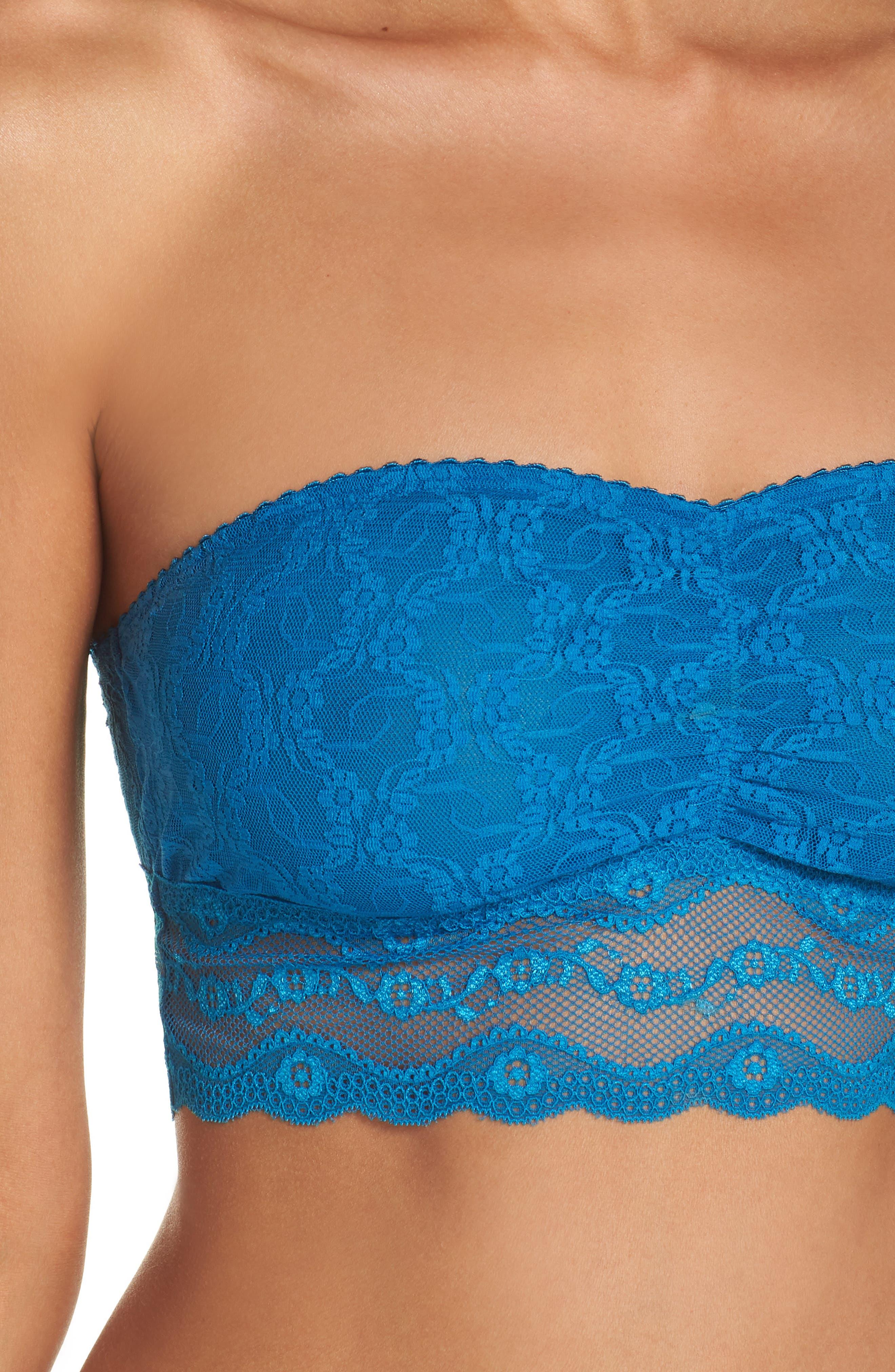 Lace Kiss Bandeau Bra,                             Alternate thumbnail 9, color,                             Mykonos Blue