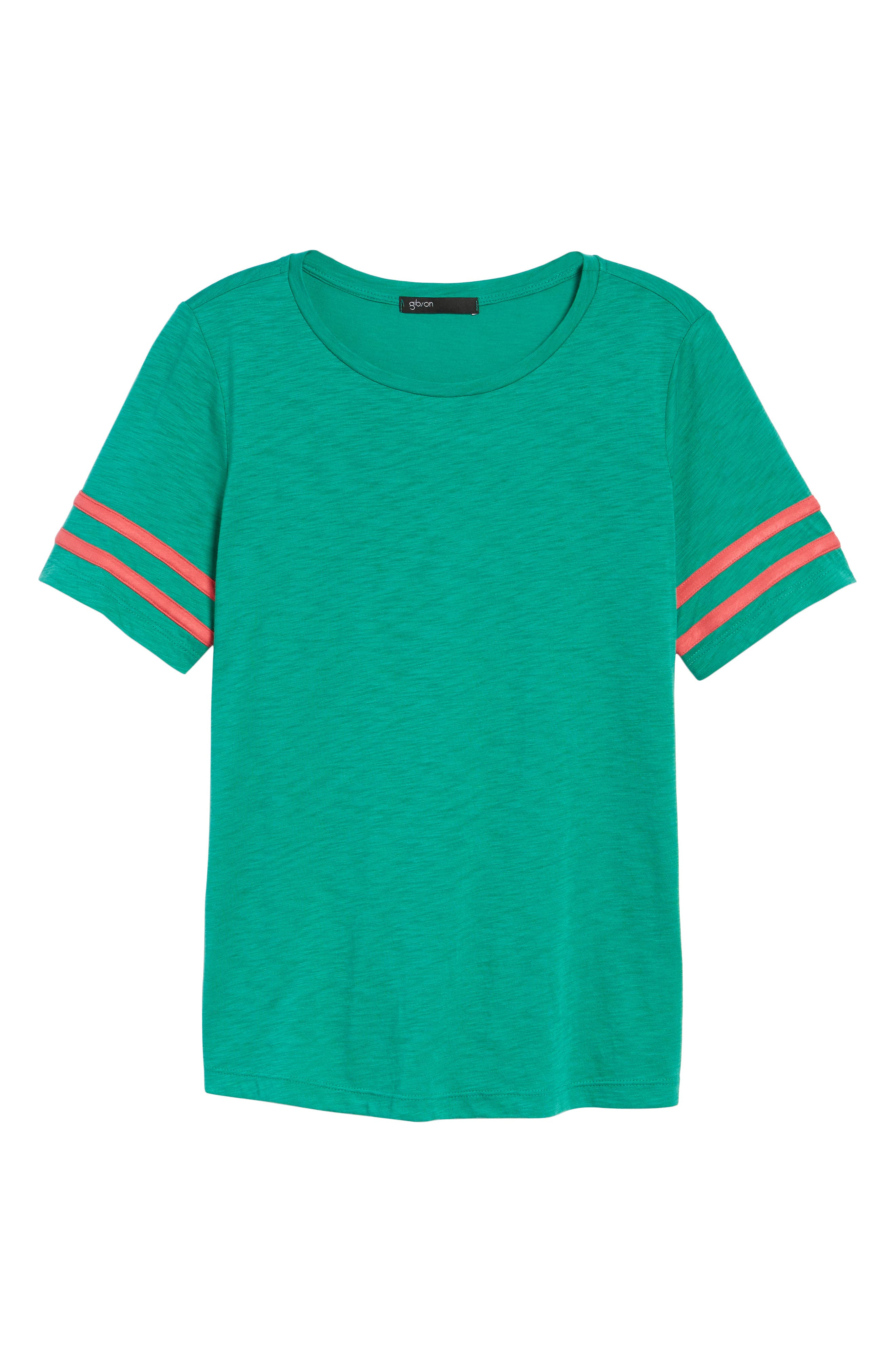 Stripe Sleeve Cotton Blend Athletic Tee,                             Alternate thumbnail 7, color,                             Green Lake With Pink