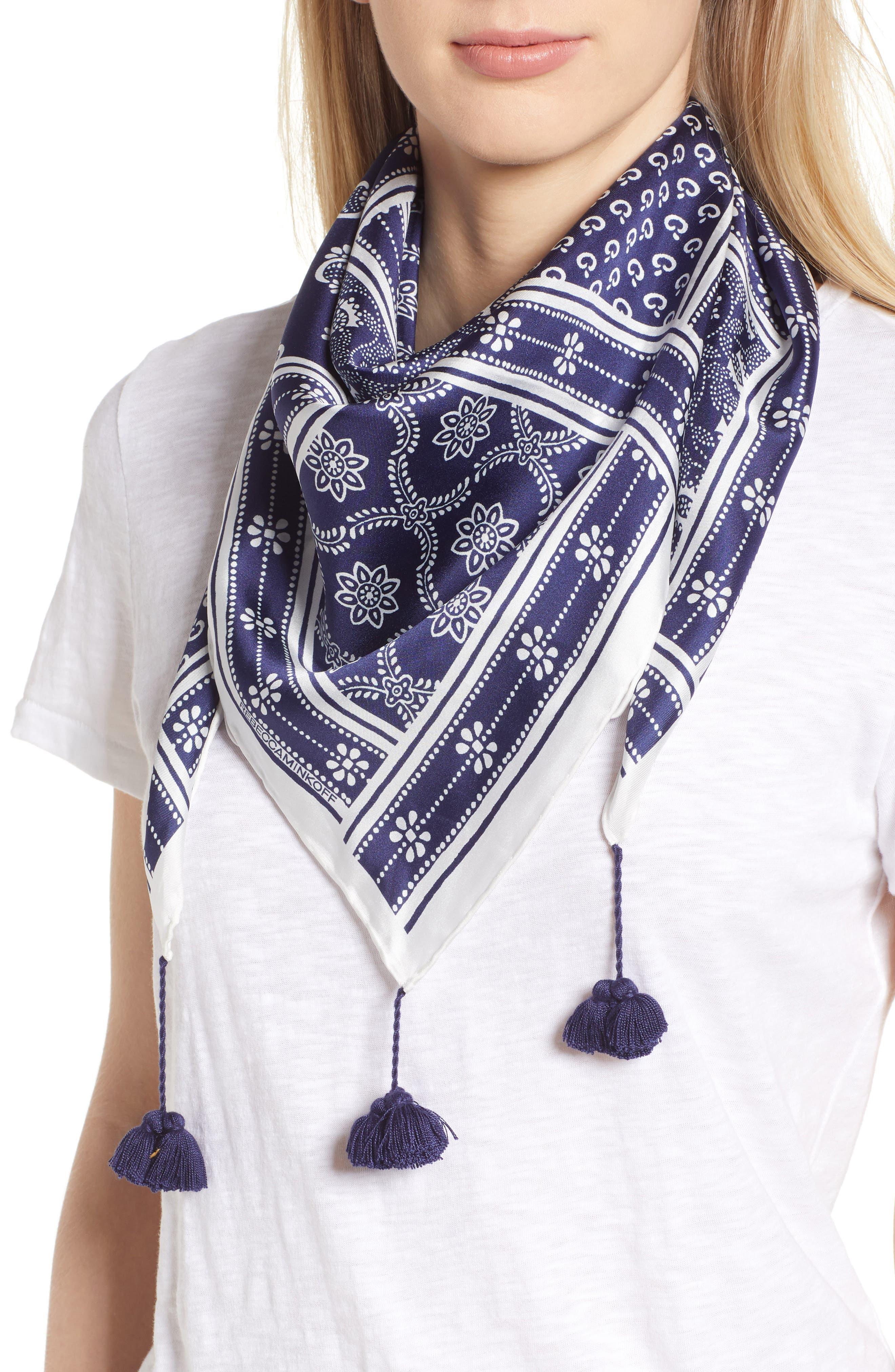 Bandana Print Silk Scarf,                         Main,                         color, White