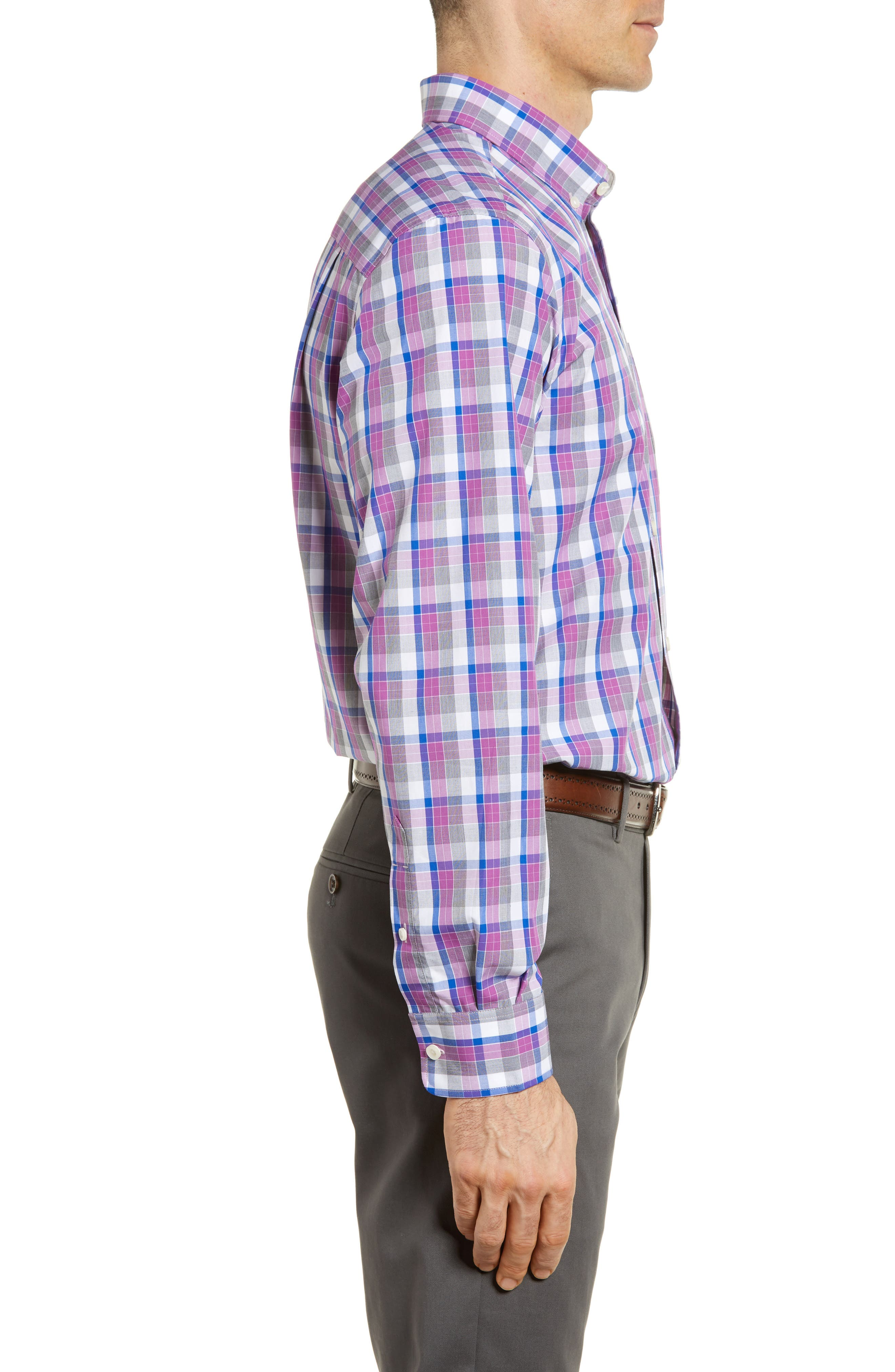 Zachary Non-Iron Plaid Sport Shirt,                             Alternate thumbnail 3, color,                             Magnetic
