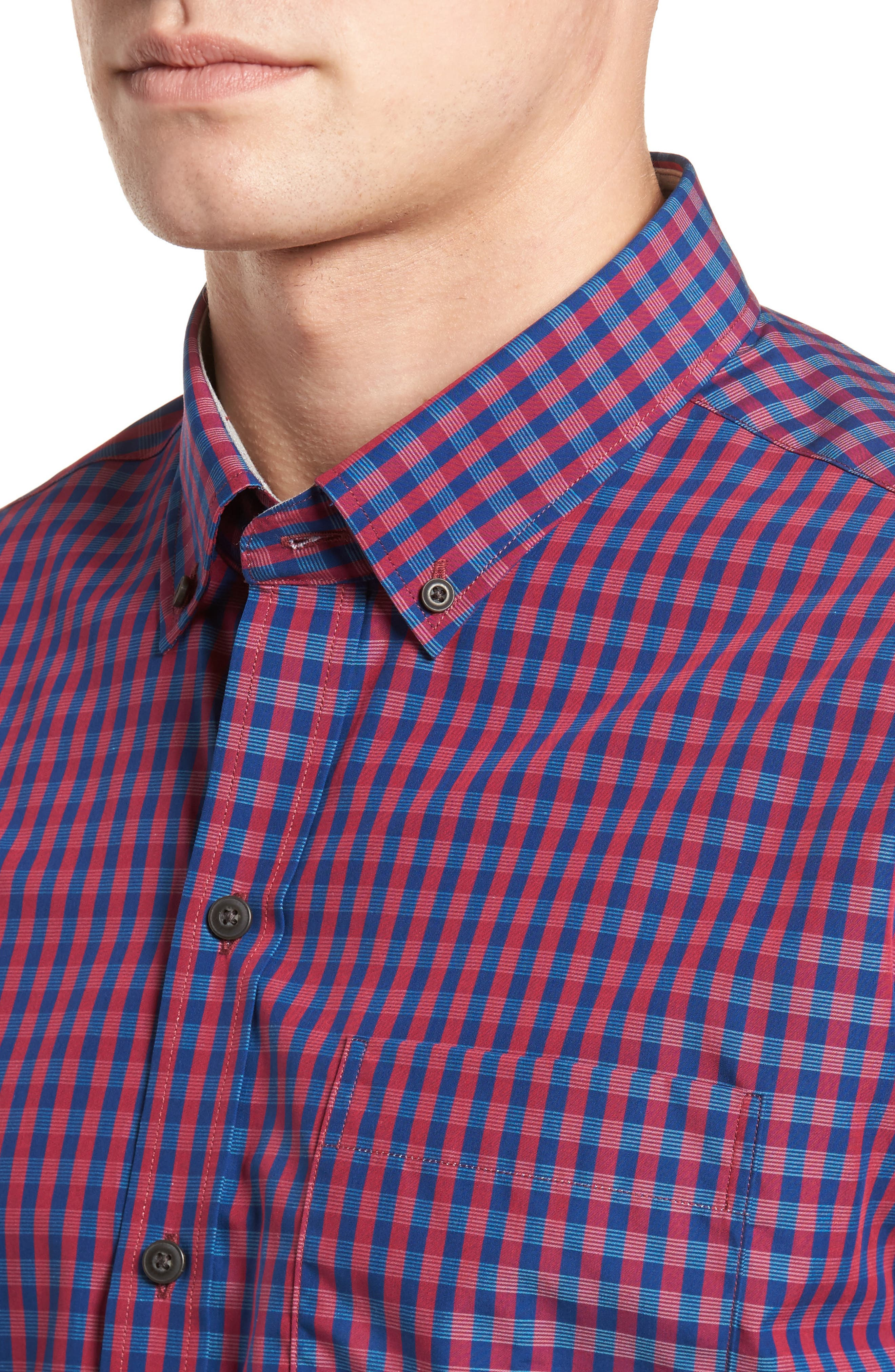 Myles Classic Fit Non-Iron Gingham Sport Shirt,                             Alternate thumbnail 4, color,                             Virtual
