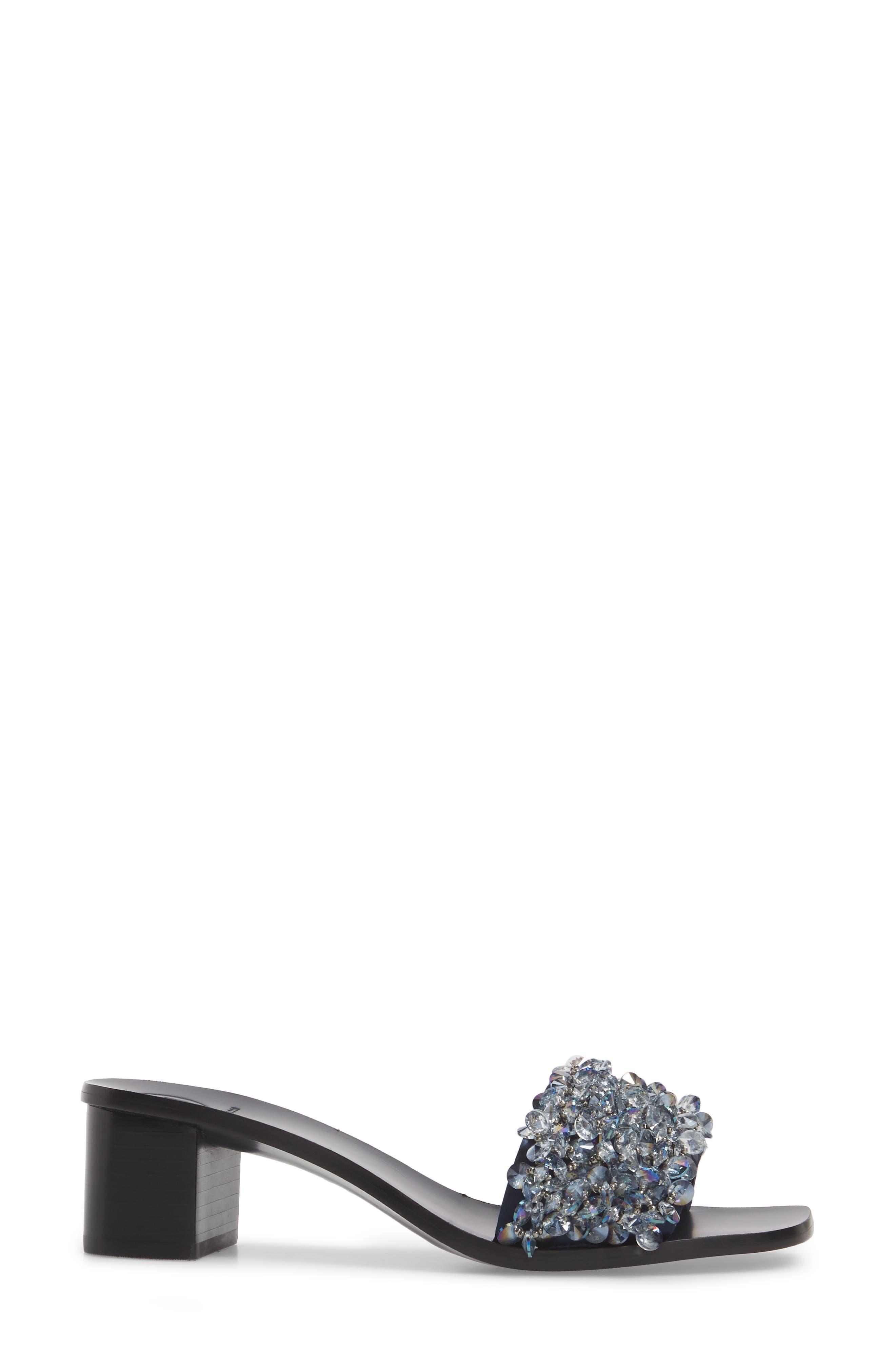 Logan Embellished Slide Sandal,                             Alternate thumbnail 3, color,                             Gray/ Perfect Navy