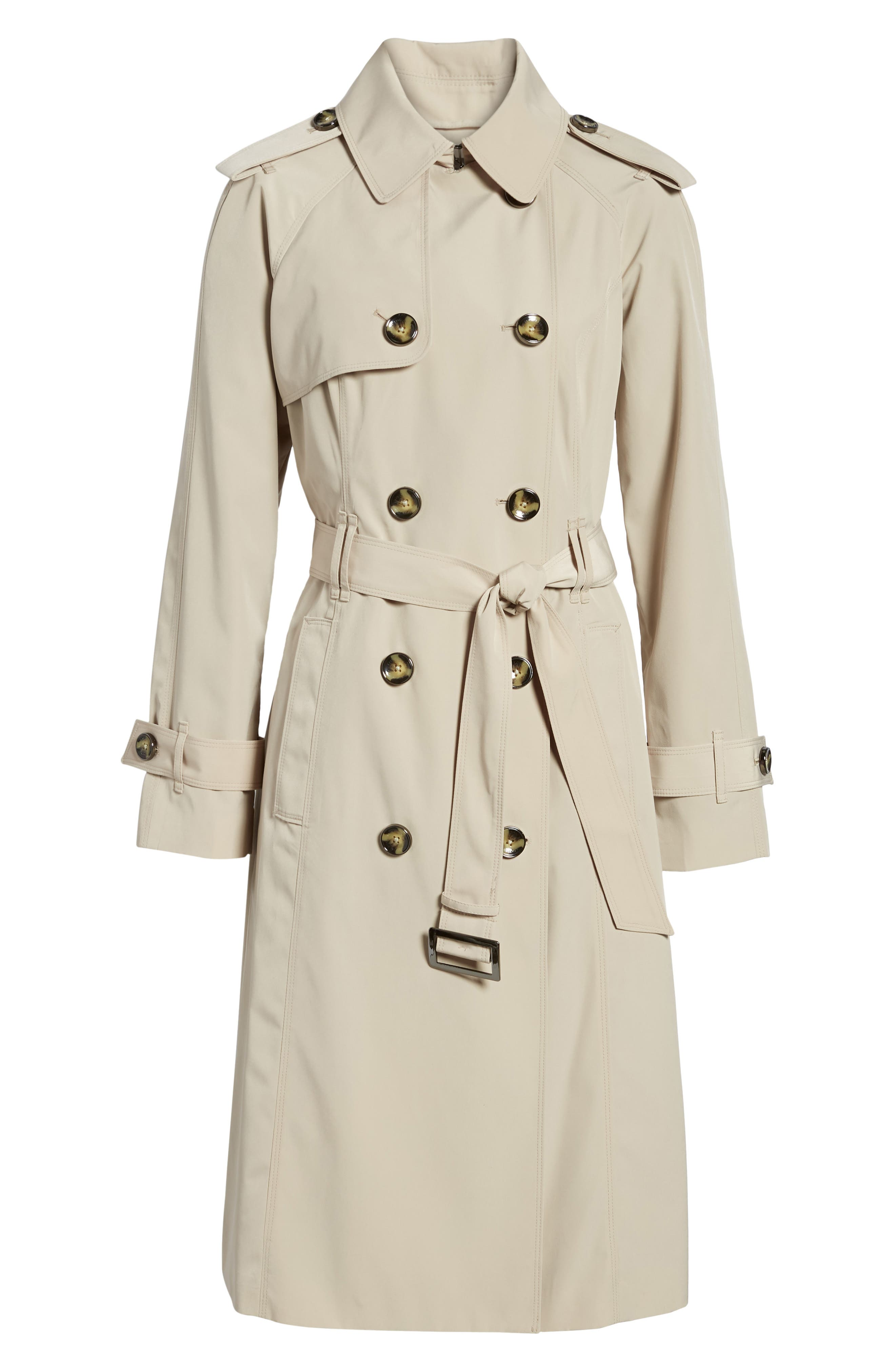 Long Double Breasted Trench Coat,                             Alternate thumbnail 7, color,                             Stone