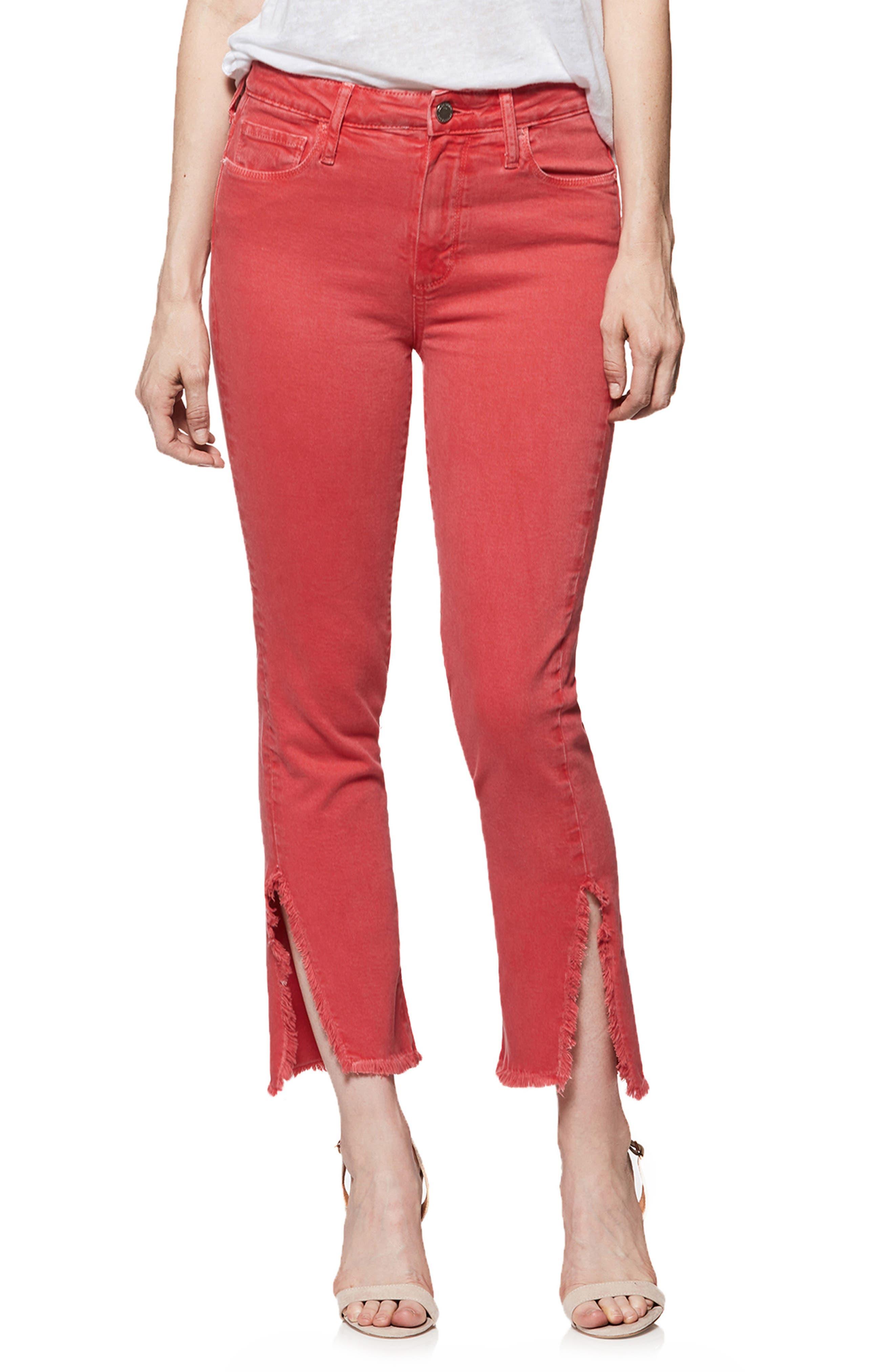 PAIGE Hoxton High Waist Slit Hem Ankle Straight Jeans (Vintage Wildflower)