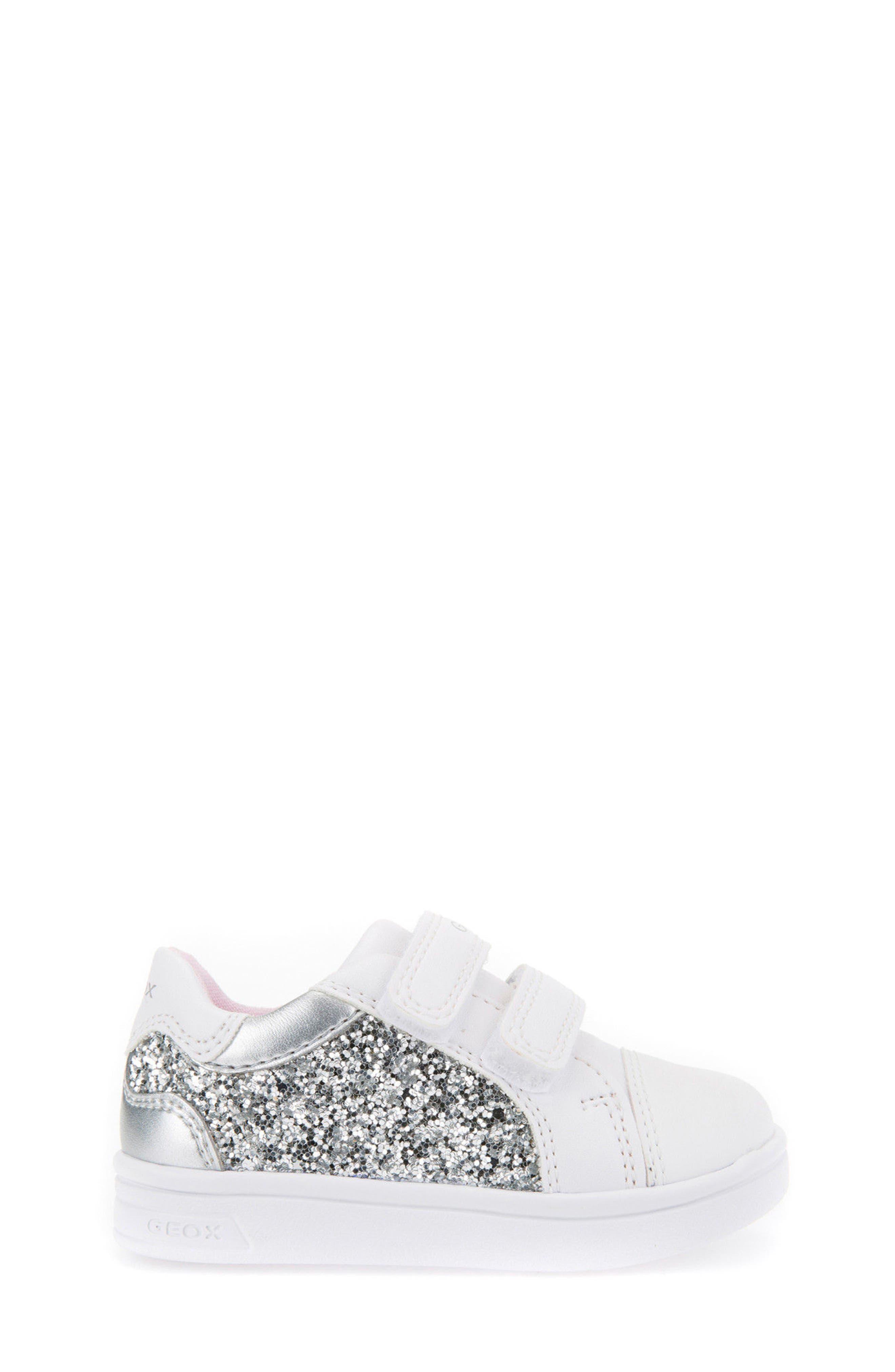 DJ Rock Glitter Low Top Sneaker,                             Alternate thumbnail 3, color,                             Silver