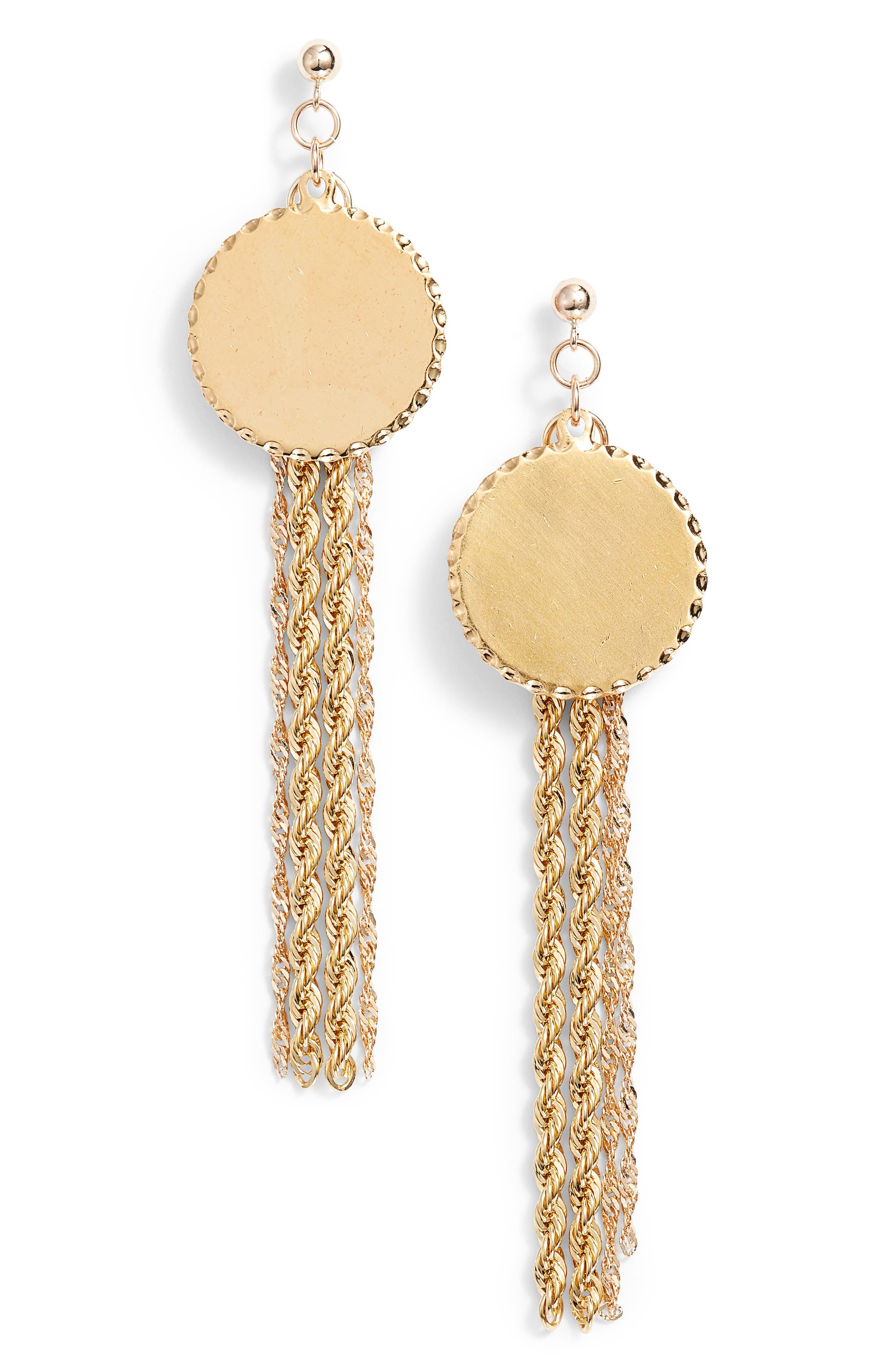 Temperance Chain Fringe Earrings,                             Main thumbnail 1, color,                             Yellow Gold