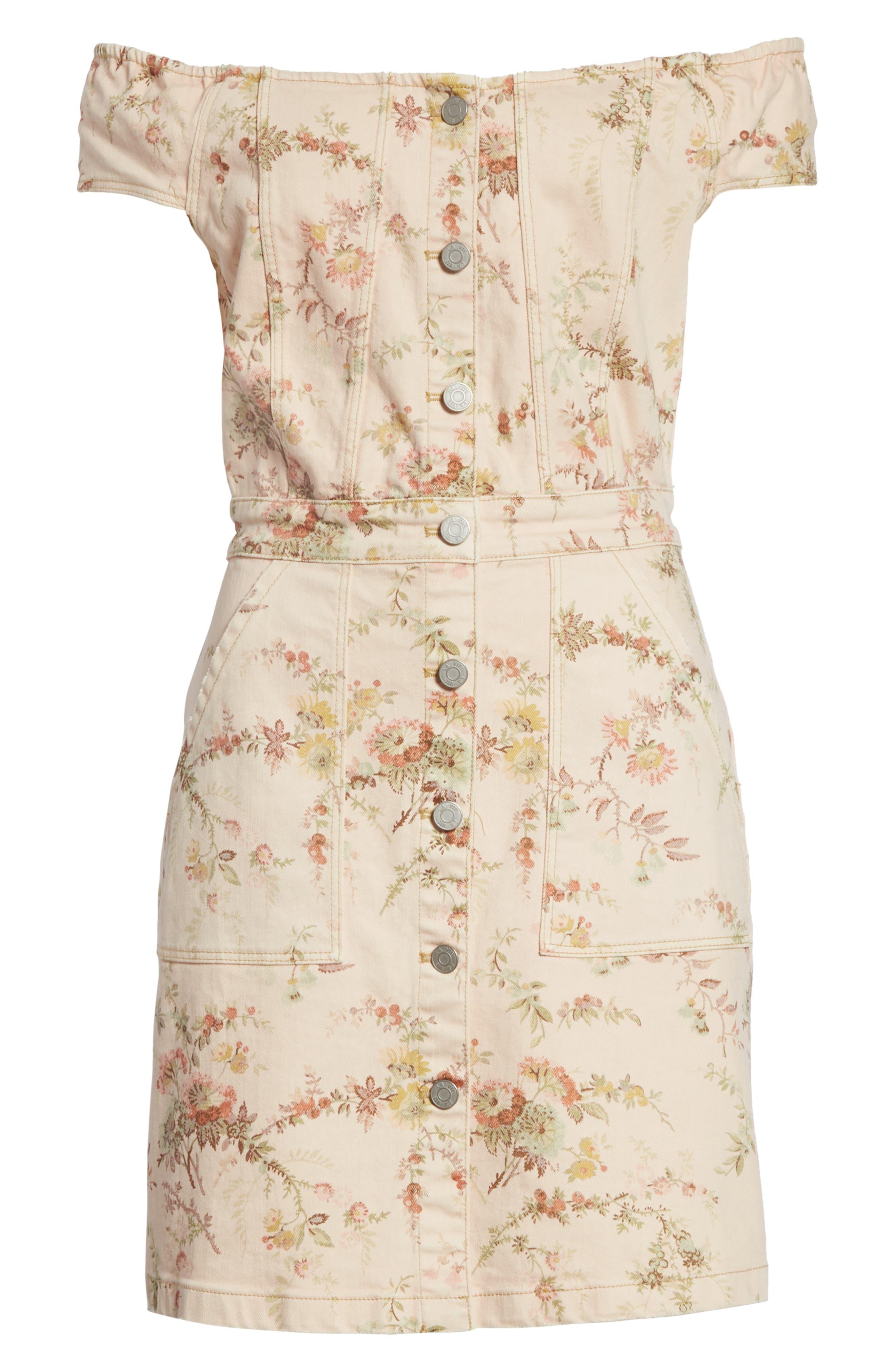 Floral Off the Shoulder Denim Dress,                             Alternate thumbnail 6, color,                             Frappe Combo