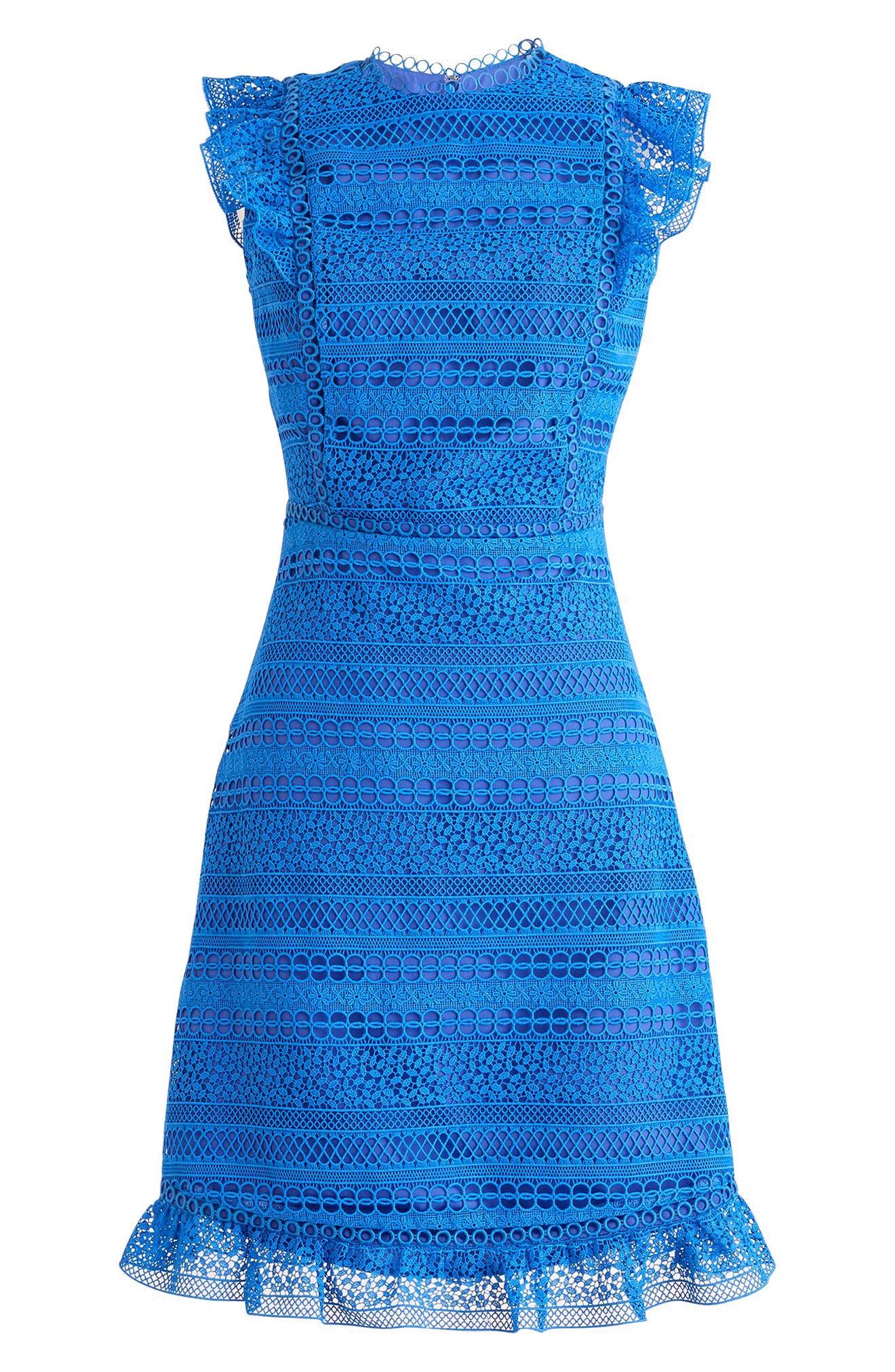J.Crew Cap Sleeve Ruffle Lace Dress,                         Main,                         color, Mediterranean Coast