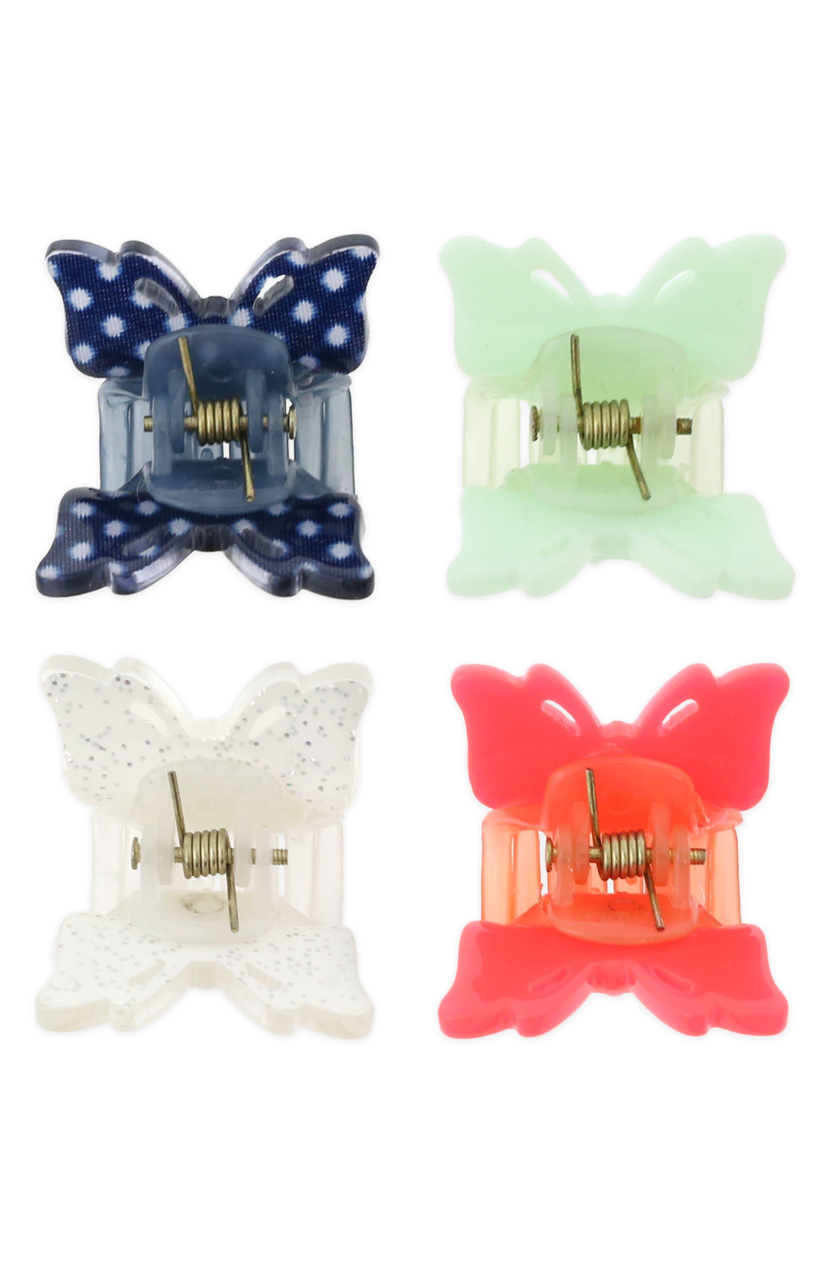 Set of 4 Butterfly Clip Set,                             Alternate thumbnail 3, color,                             Multi