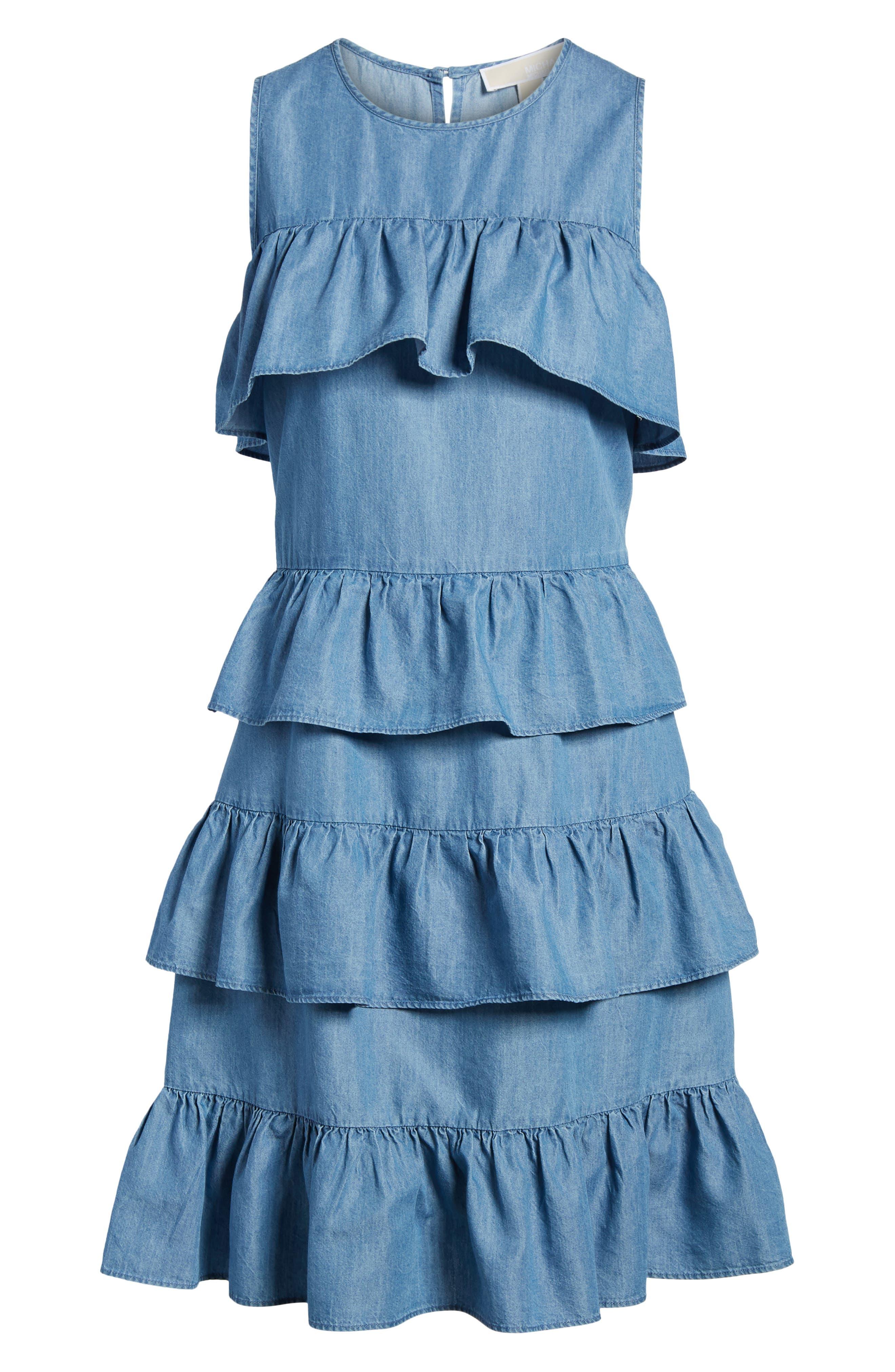 Chambray Flounce Dress,                             Alternate thumbnail 6, color,                             Light Cadet Wash