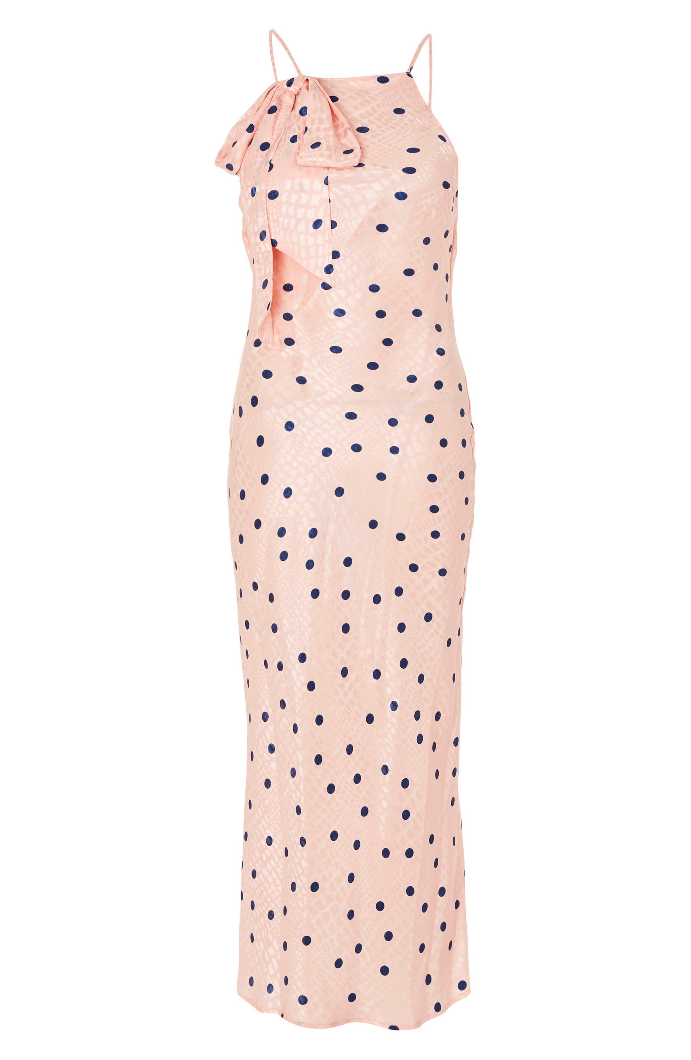 Spot Jacquard Maxi Slipdress,                             Alternate thumbnail 4, color,                             Pink Multi