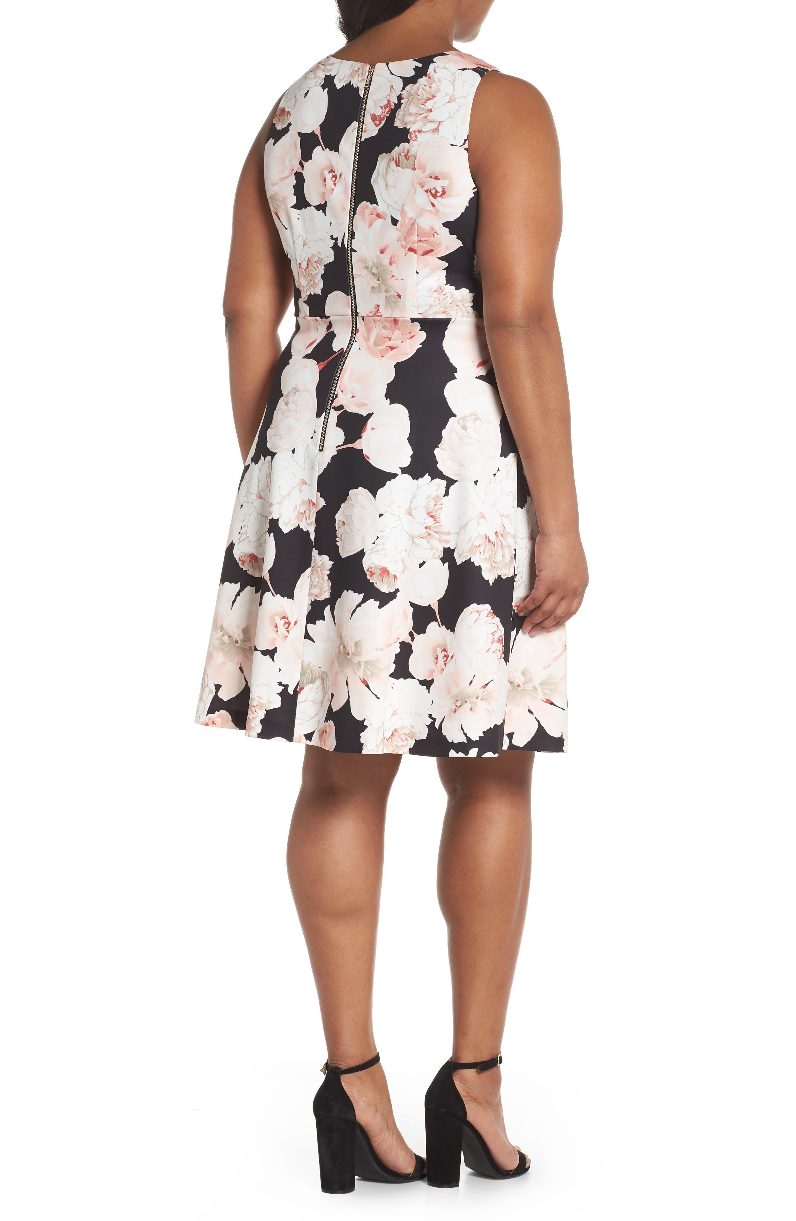 Floral A-Line Dress,                             Alternate thumbnail 2, color,                             Pink/ Black Multi