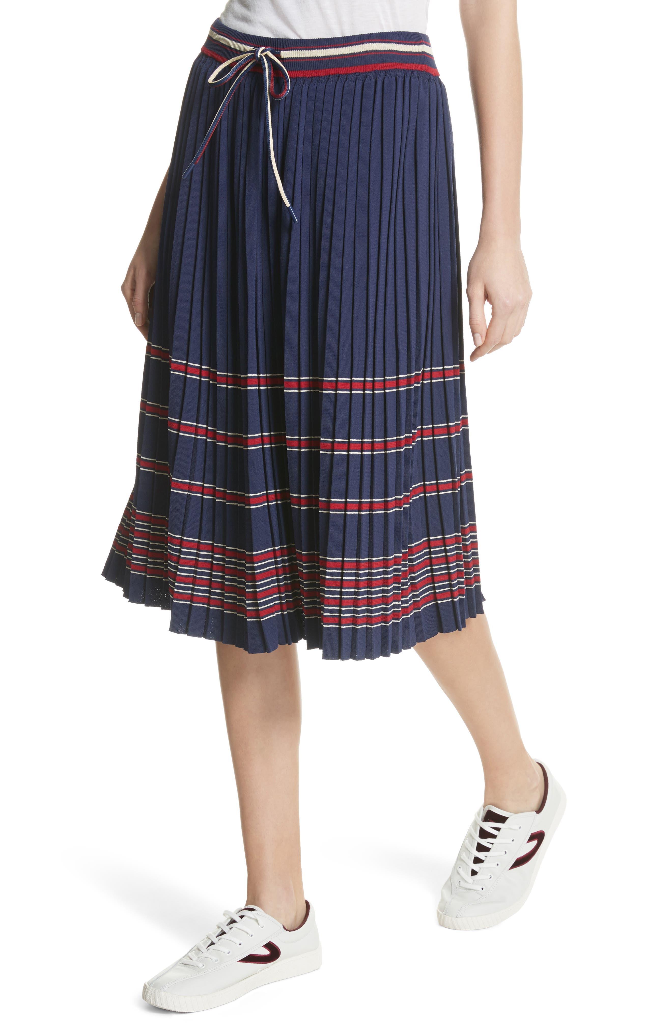 Pleated Midi Skirt,                             Alternate thumbnail 4, color,                             Navy