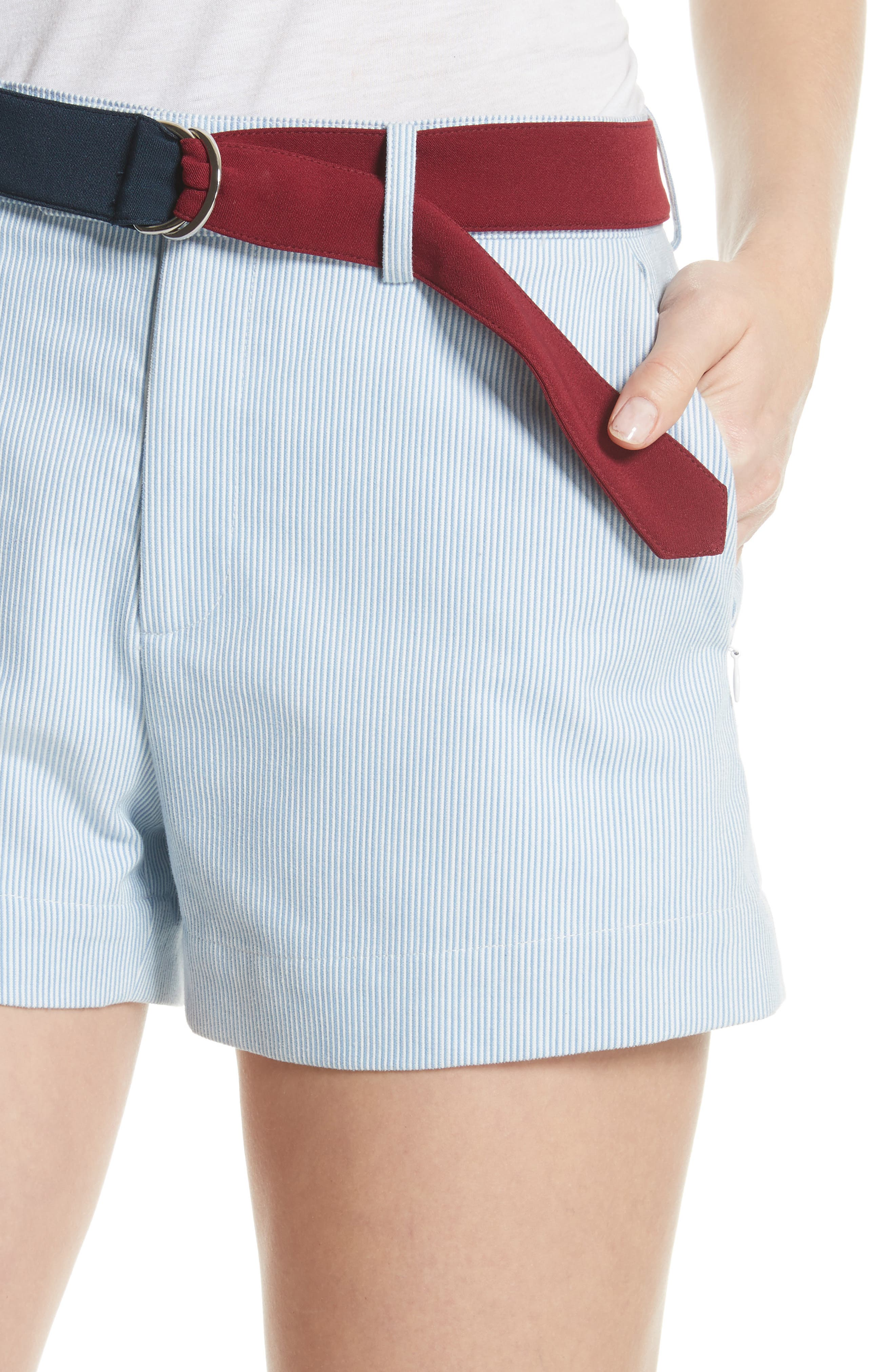 Multi Belt Shorts,                             Alternate thumbnail 4, color,                             Chambray Blue