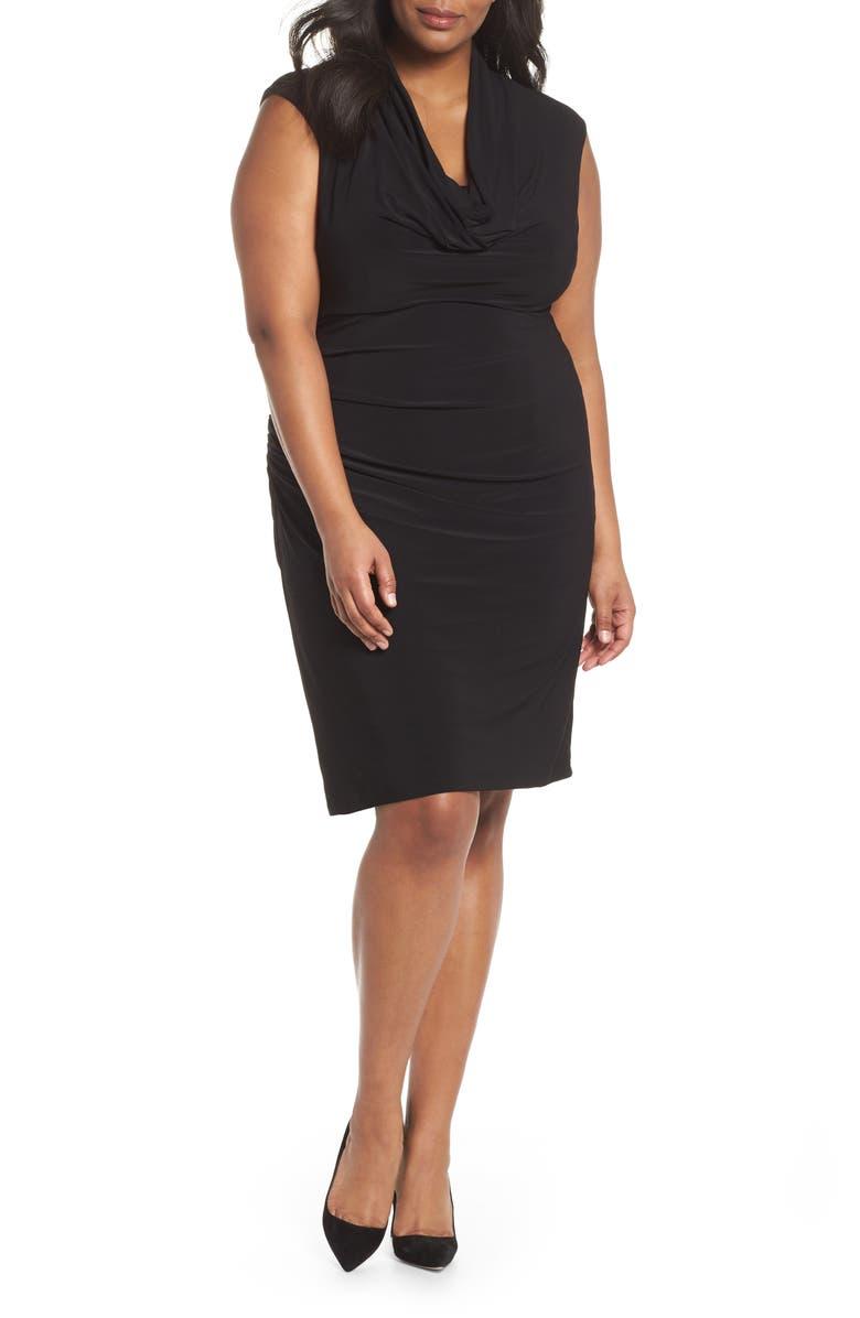 Cowl Neck Ruched Matte Jersey Dress