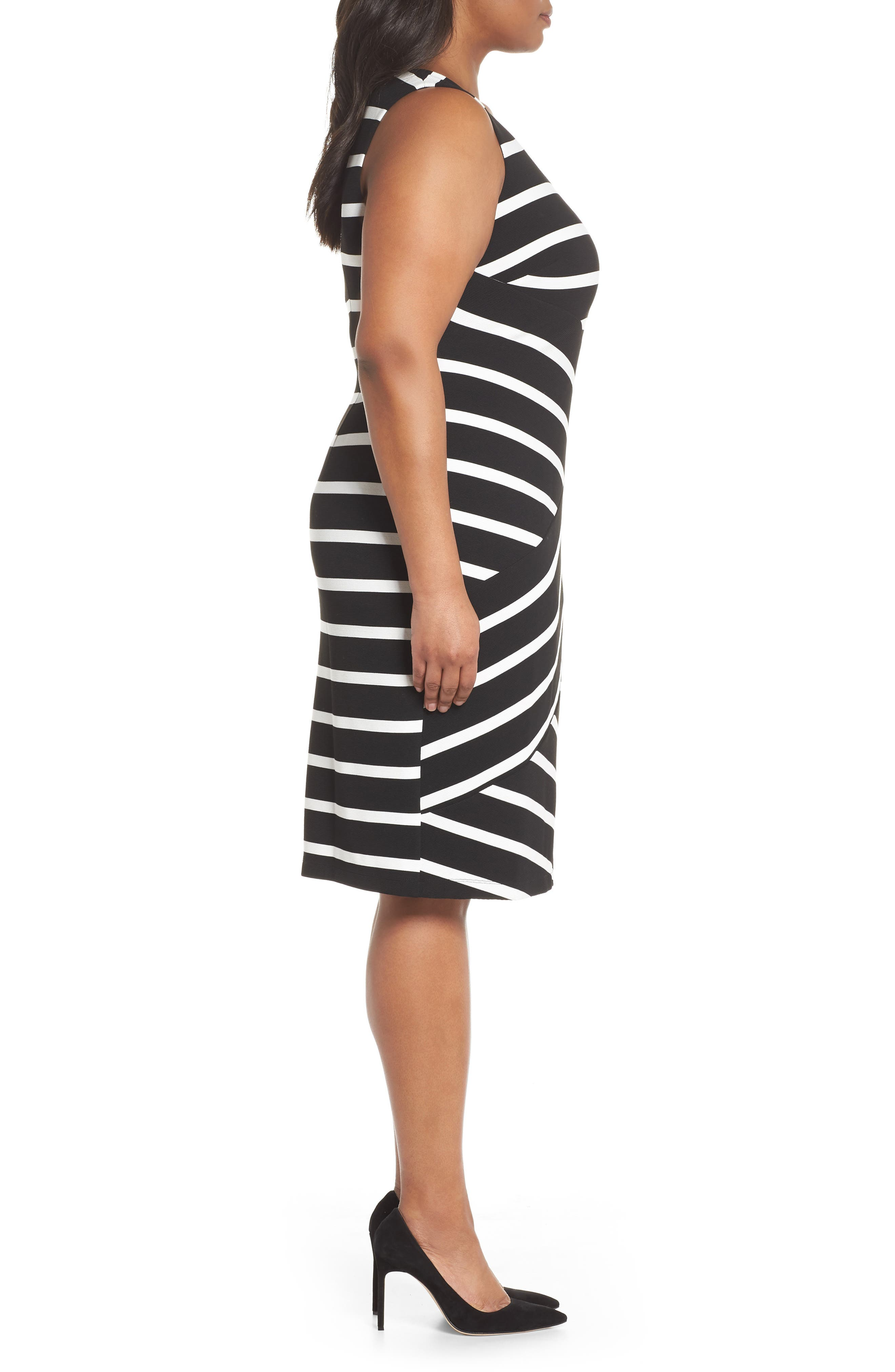 Ottoman Striped Sheath Dress,                             Alternate thumbnail 3, color,                             Black/ Ivory