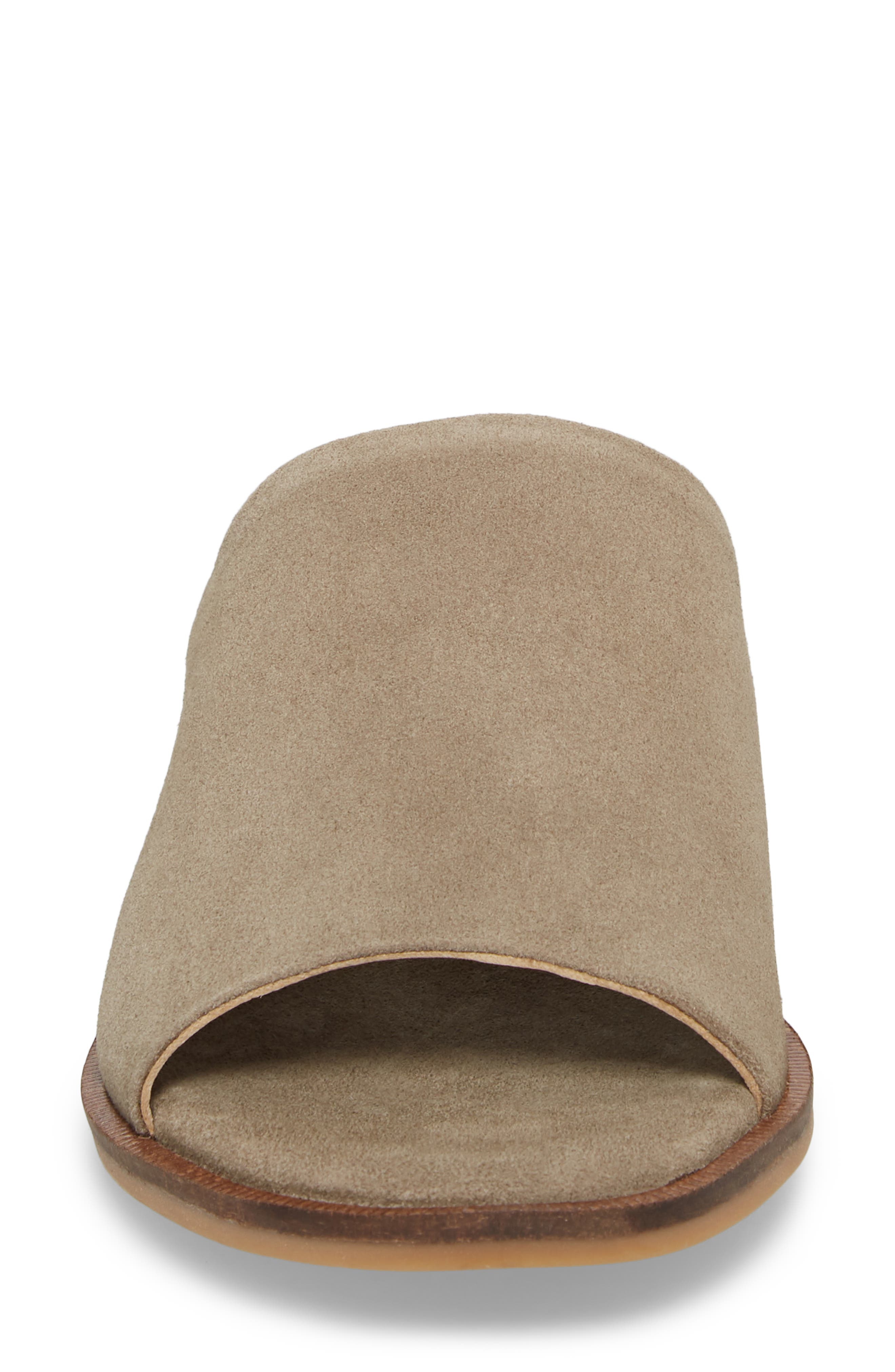 Relaxing Wedge Slide Sandal,                             Alternate thumbnail 4, color,                             Taupe Leather