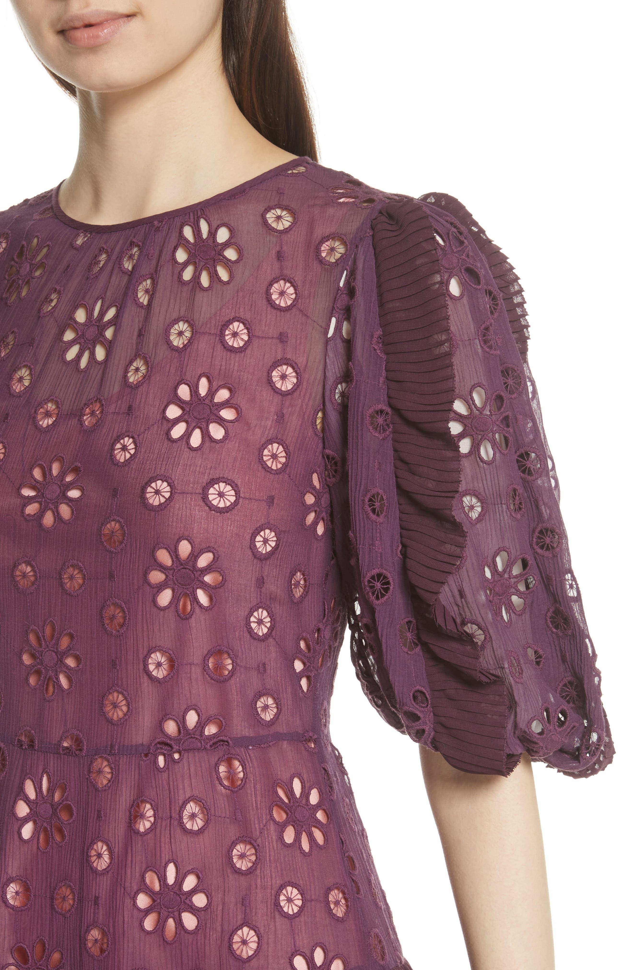 Pinwheel Eyelet Dress,                             Alternate thumbnail 4, color,                             Plum