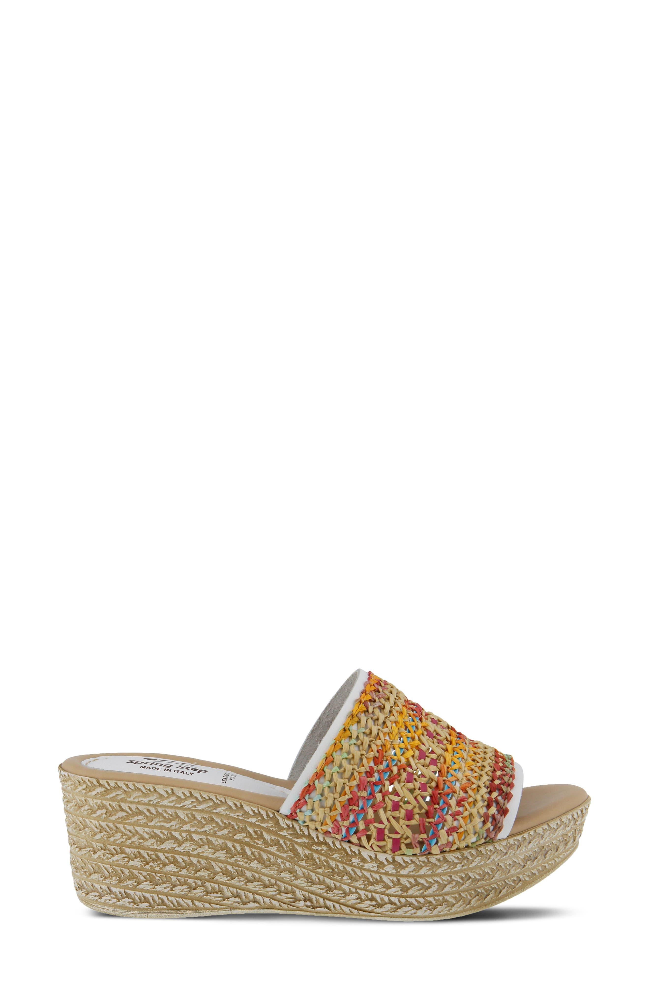 Calci Espadrille Wedge Sandal,                             Alternate thumbnail 3, color,                             White Leather