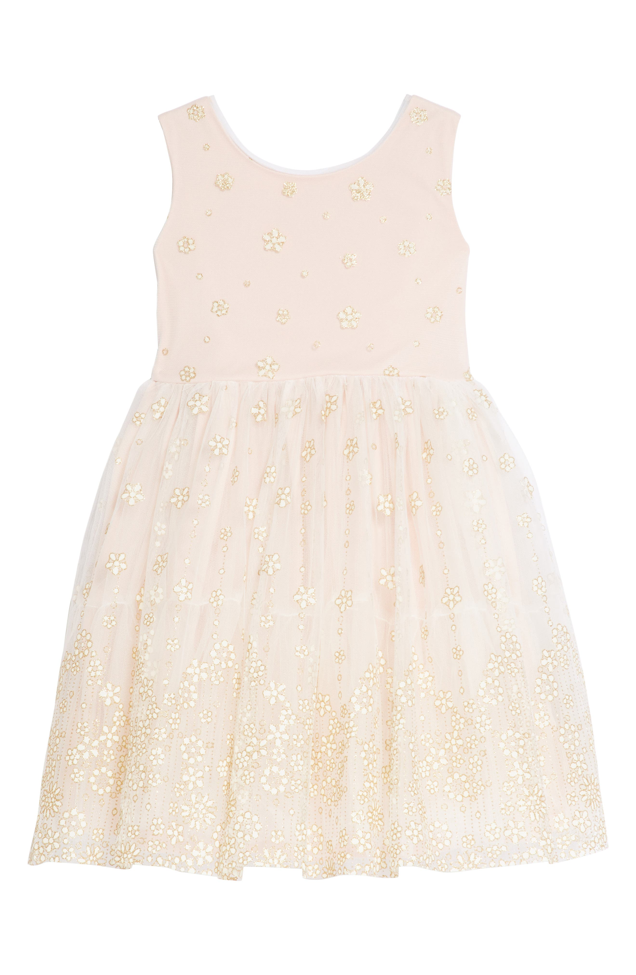 Glitter Mesh Tulle Dress,                             Main thumbnail 1, color,                             Ivory/ Pink