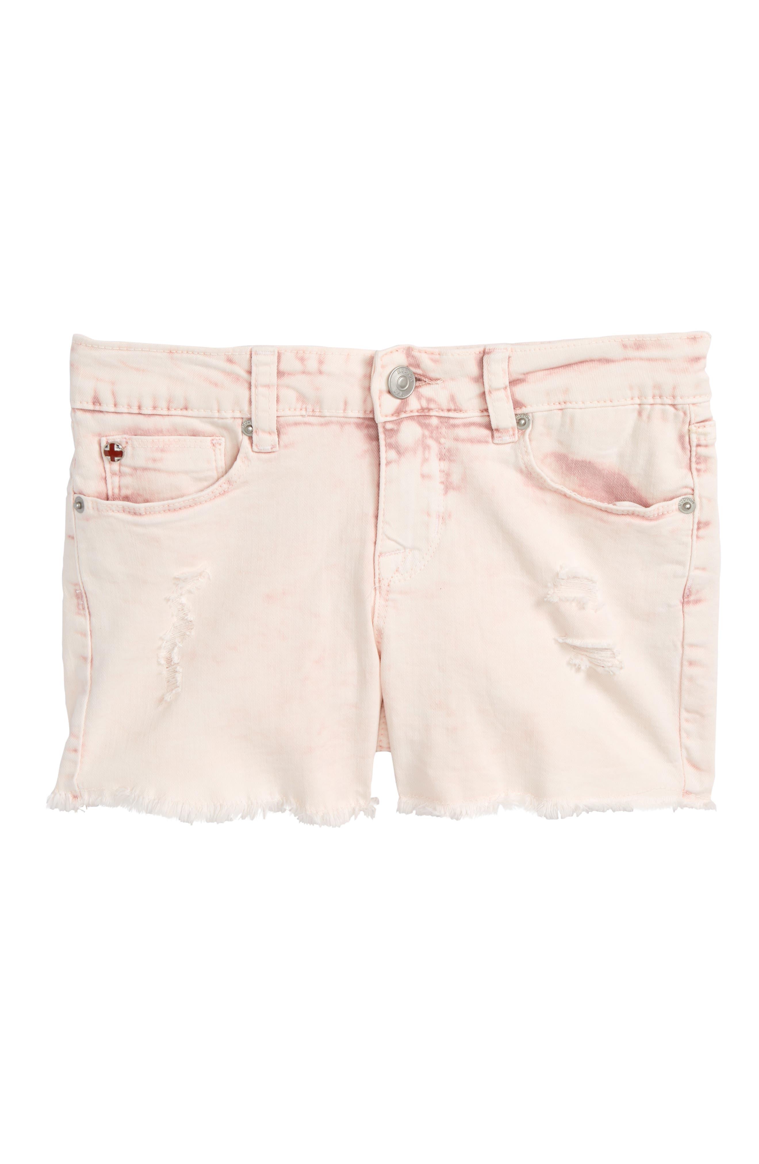 Frayed Acid Wash Shorts,                         Main,                         color, Pink Coral Acid Wash