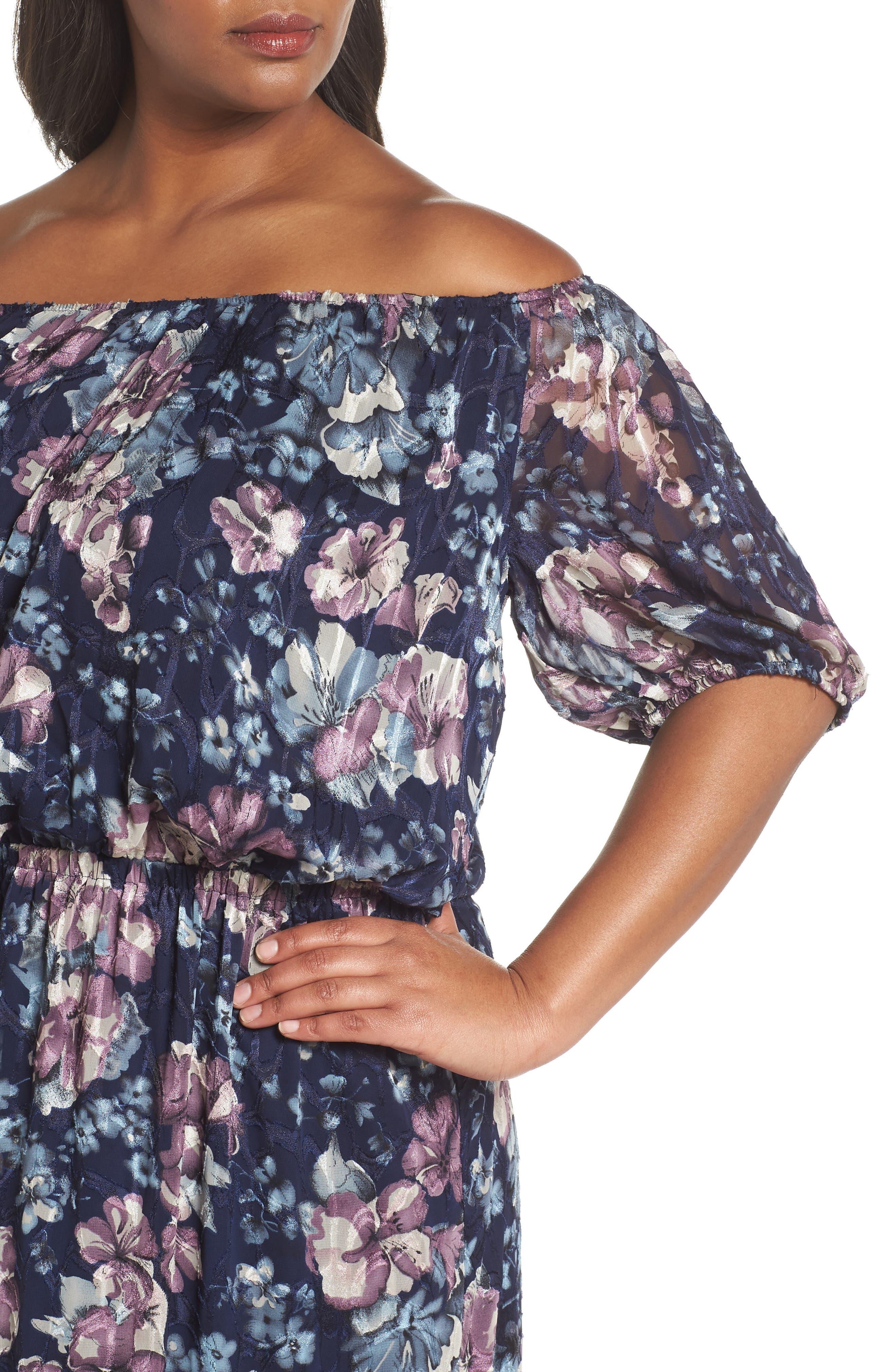 Floral Burnout Off the Shoulder Blouson Dress,                             Alternate thumbnail 4, color,                             Navy Multi