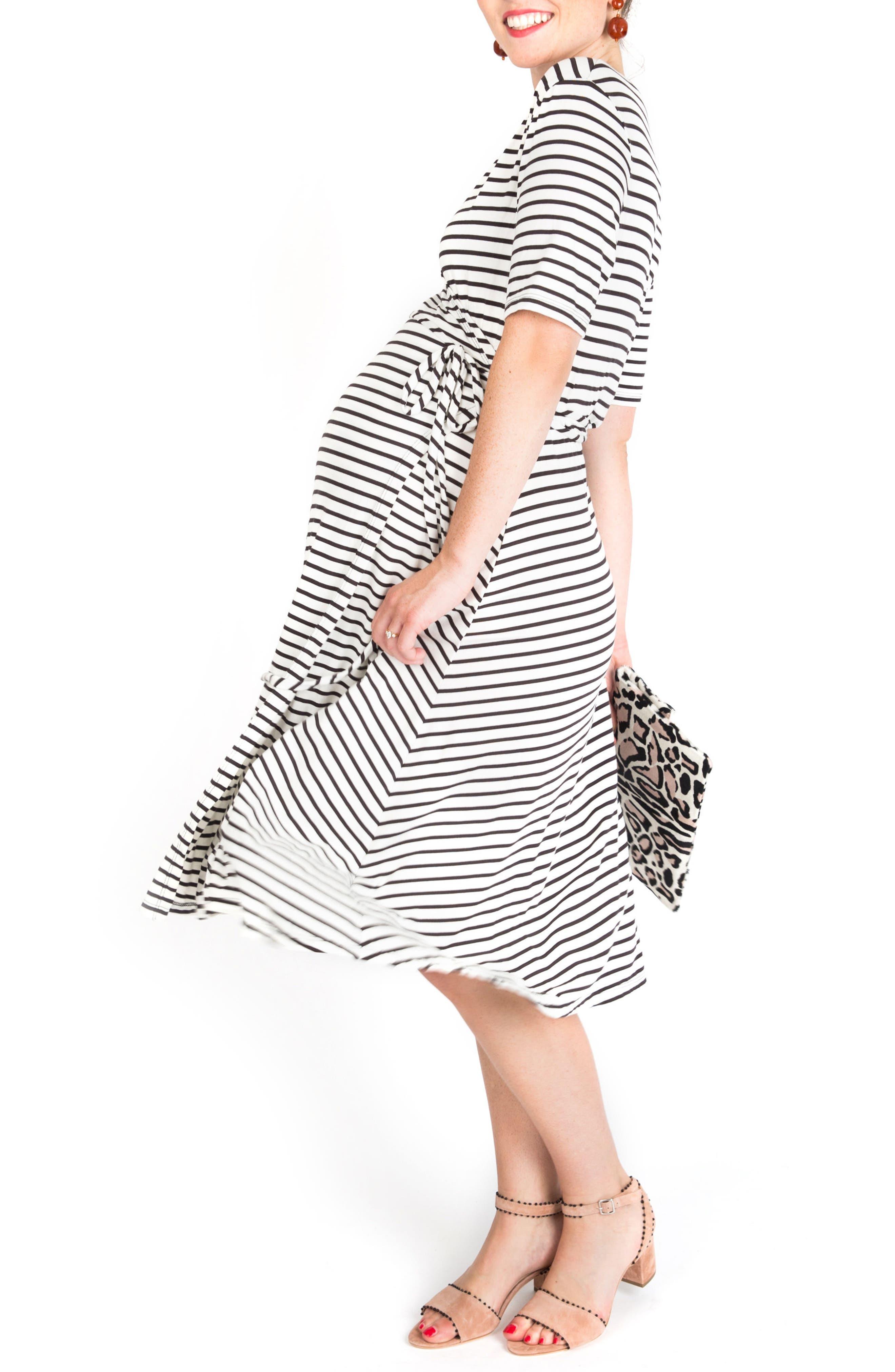 Maya Maternity/Nursing Wrap Dress,                             Alternate thumbnail 3, color,                             Black/ White Stripe