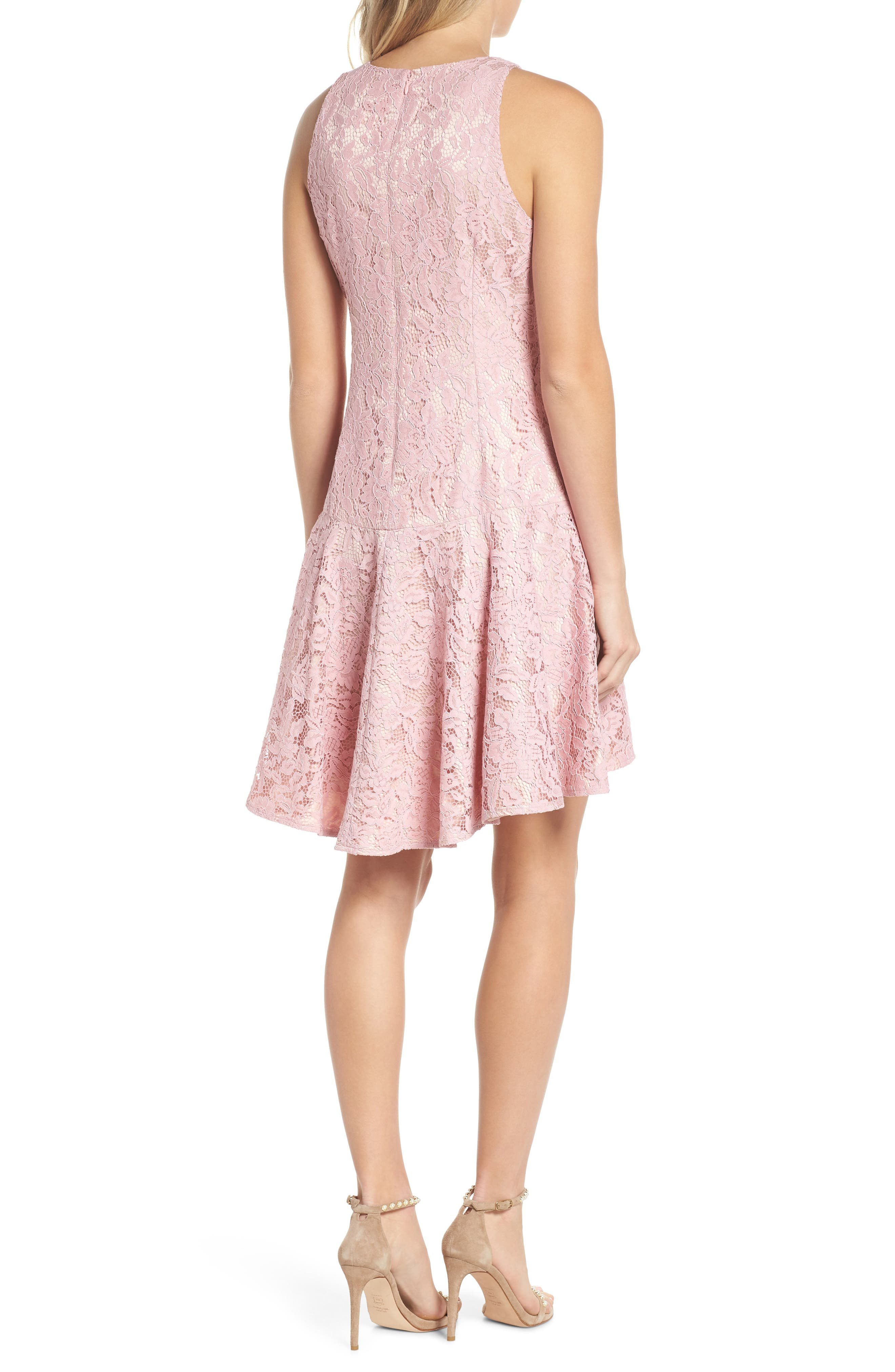 Sleeveless Drop Waist Lace Dress,                             Alternate thumbnail 2, color,                             Blush