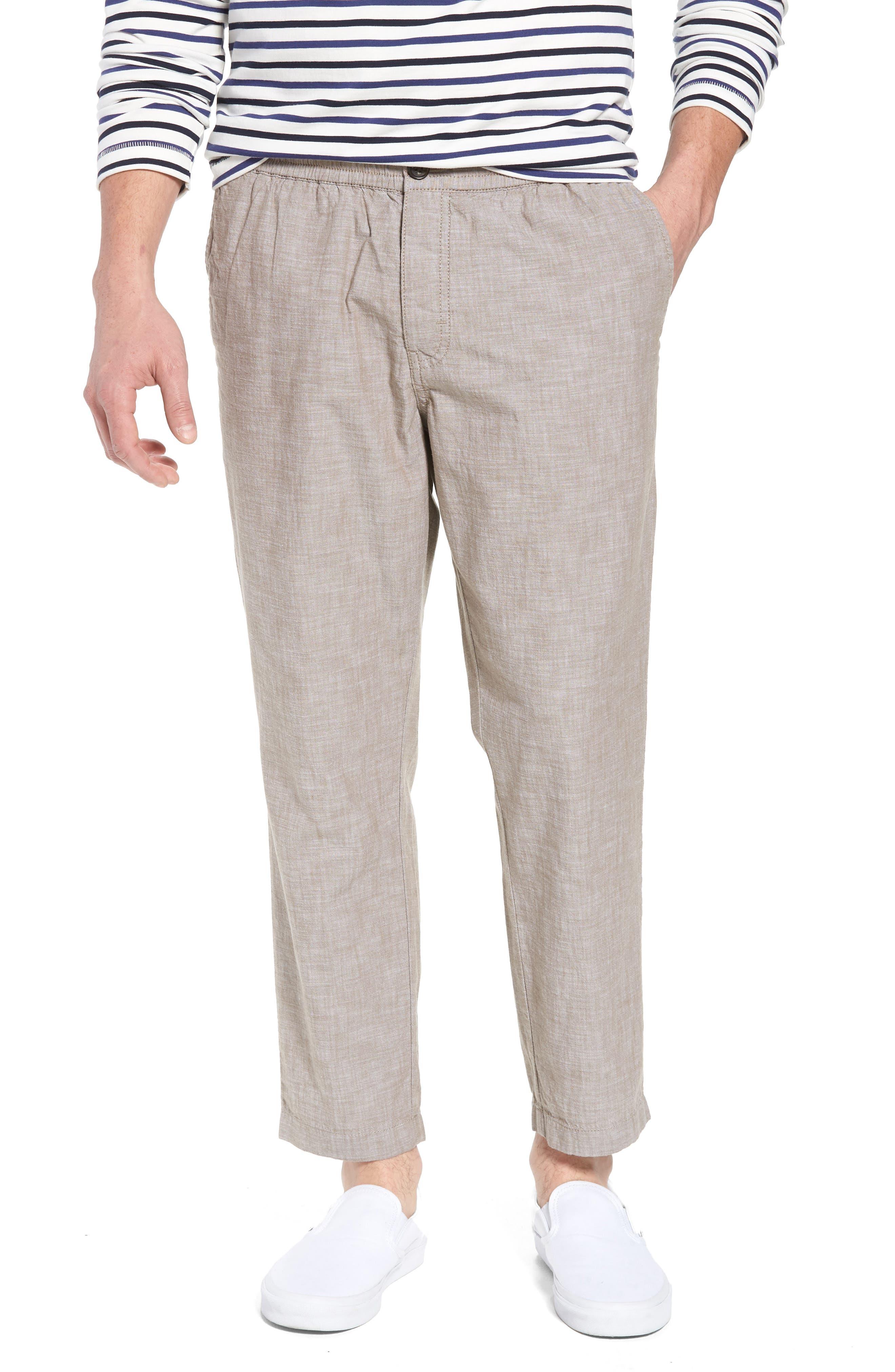 Crop Chambray Chino Pants,                             Main thumbnail 1, color,                             Tan Burrow Chambray