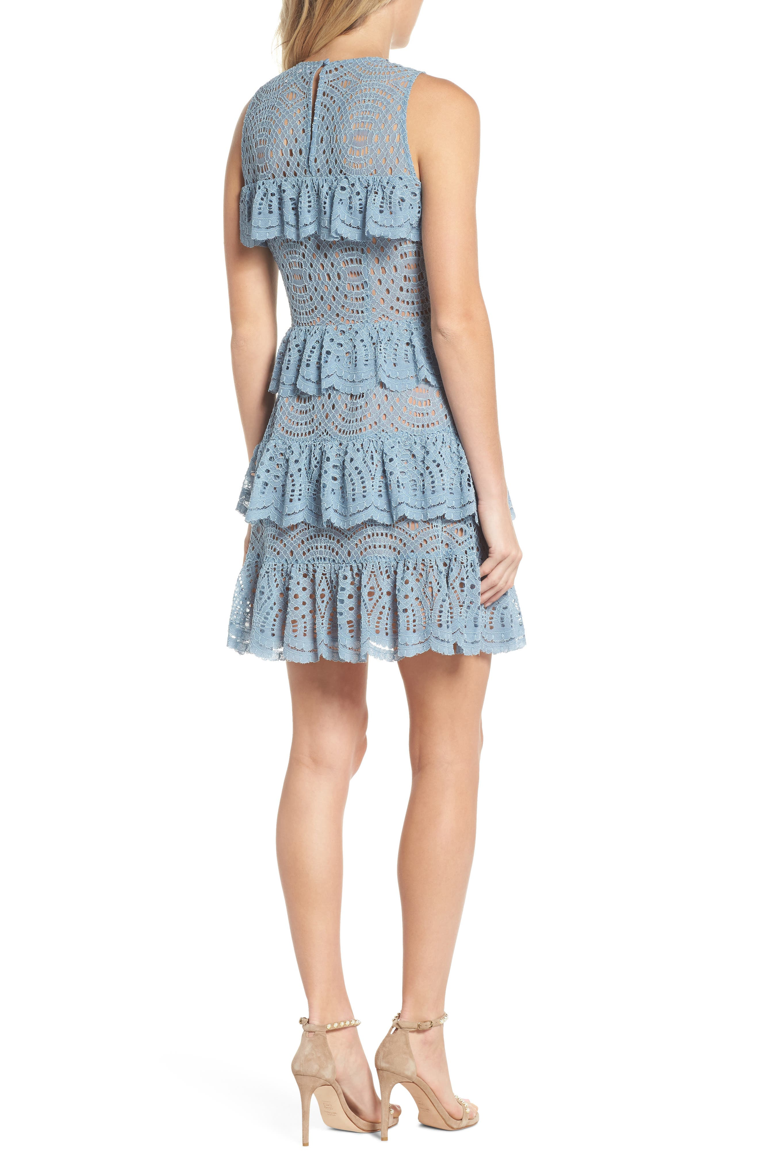 Tiered Lace Dress,                             Alternate thumbnail 2, color,                             Chambray