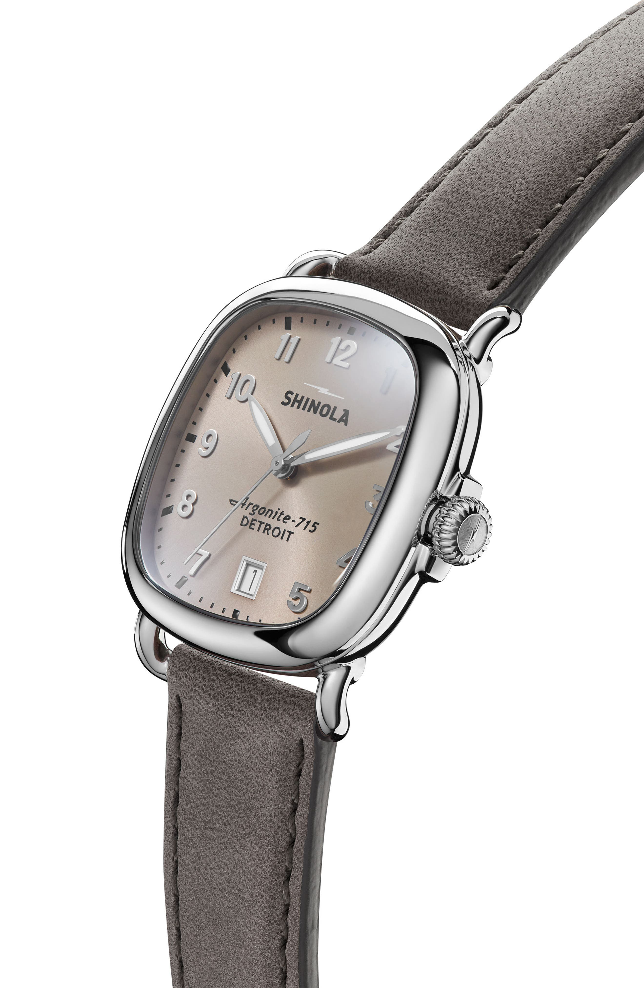 The Guardian Leather Strap Watch, 36mm,                             Alternate thumbnail 5, color,                             Grey/ Nude Pink/ Silver