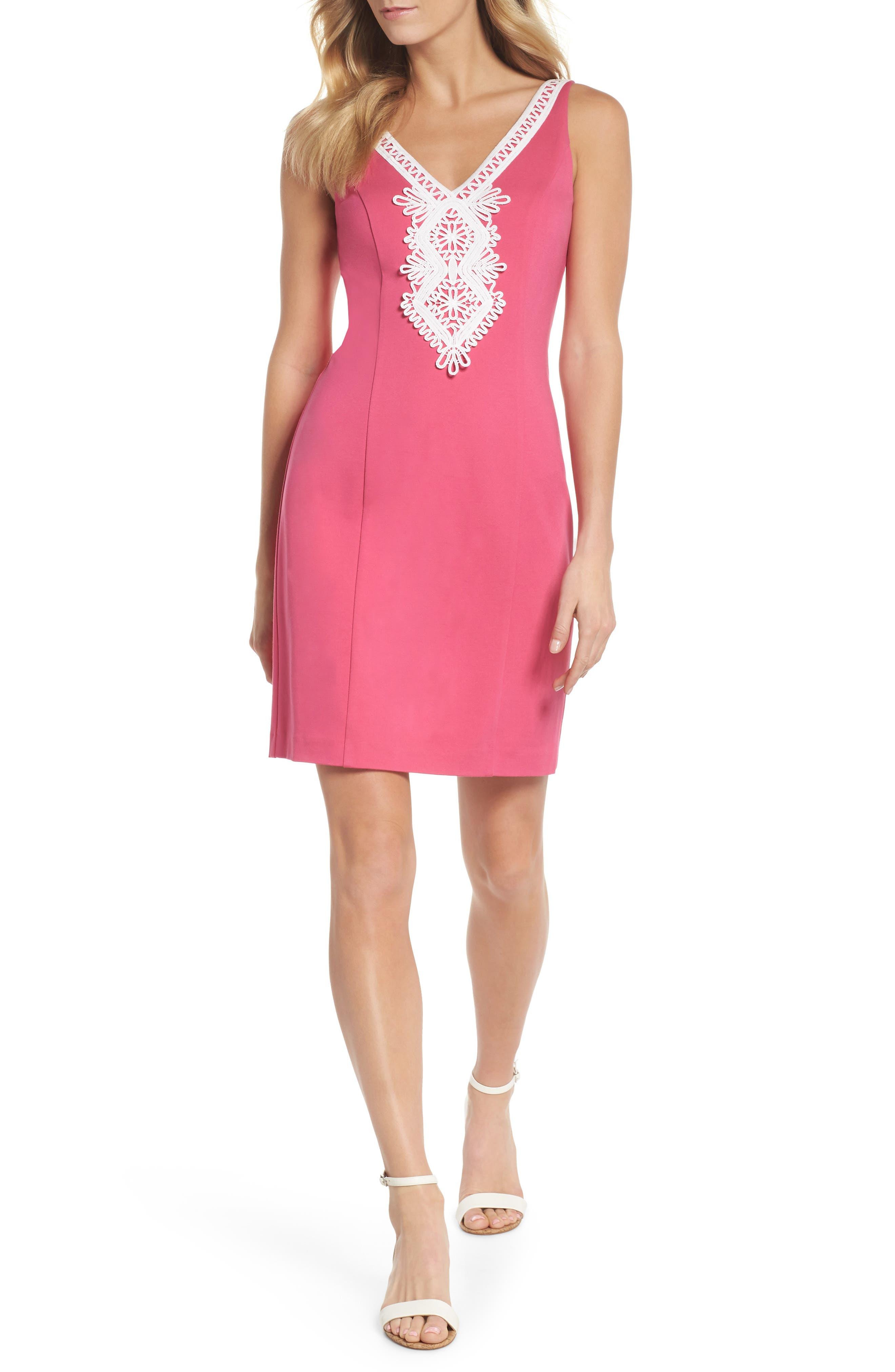 Embroidered V-Neck Shift Dress,                         Main,                         color, Pink