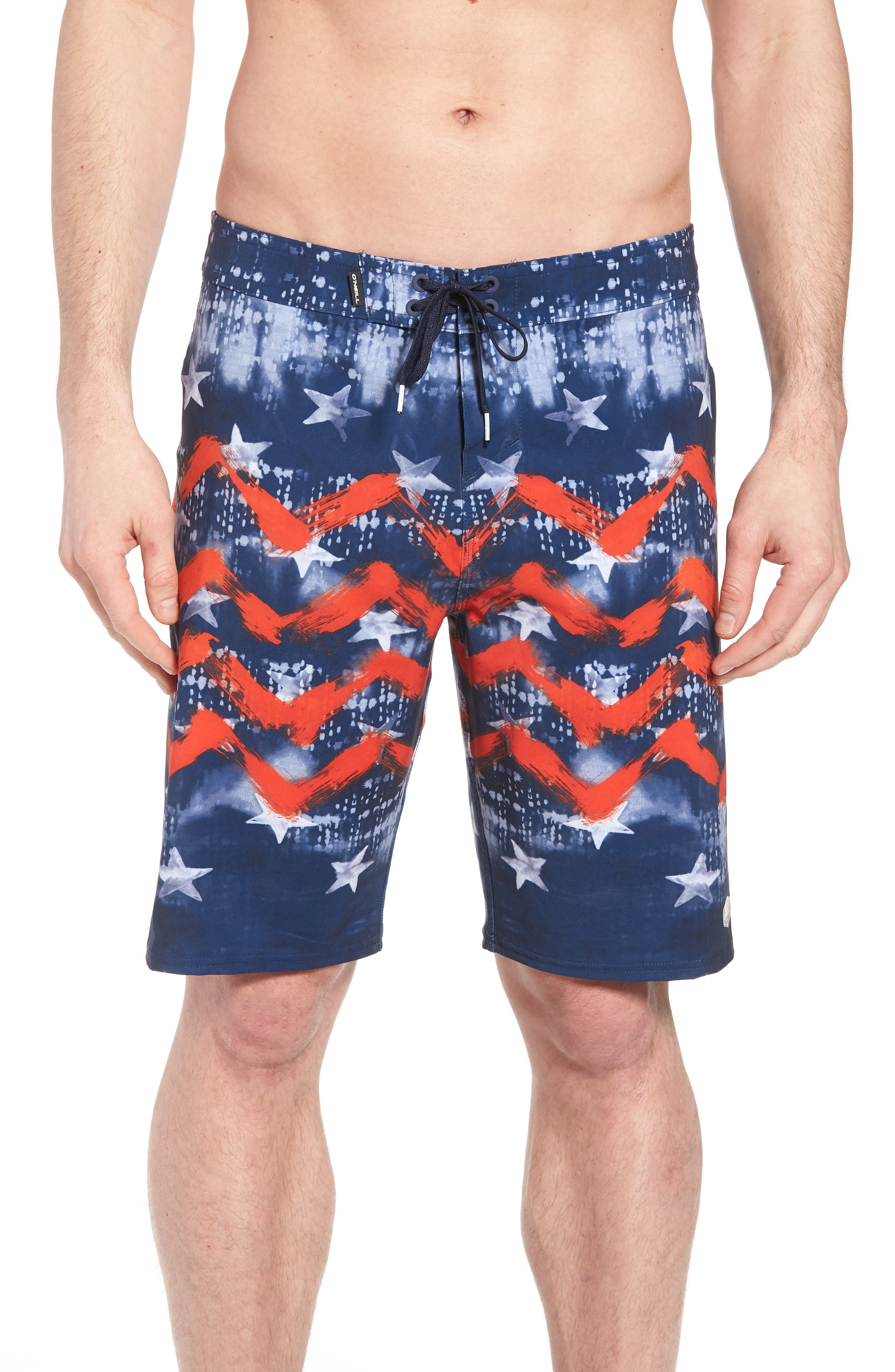 Hyperfreak Independence Board Shorts,                         Main,                         color, Red White Blue
