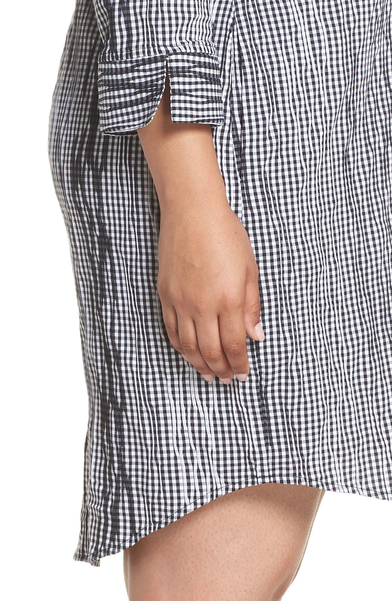 Miri Crinkle Gingham Shirtdress,                             Alternate thumbnail 4, color,                             Black