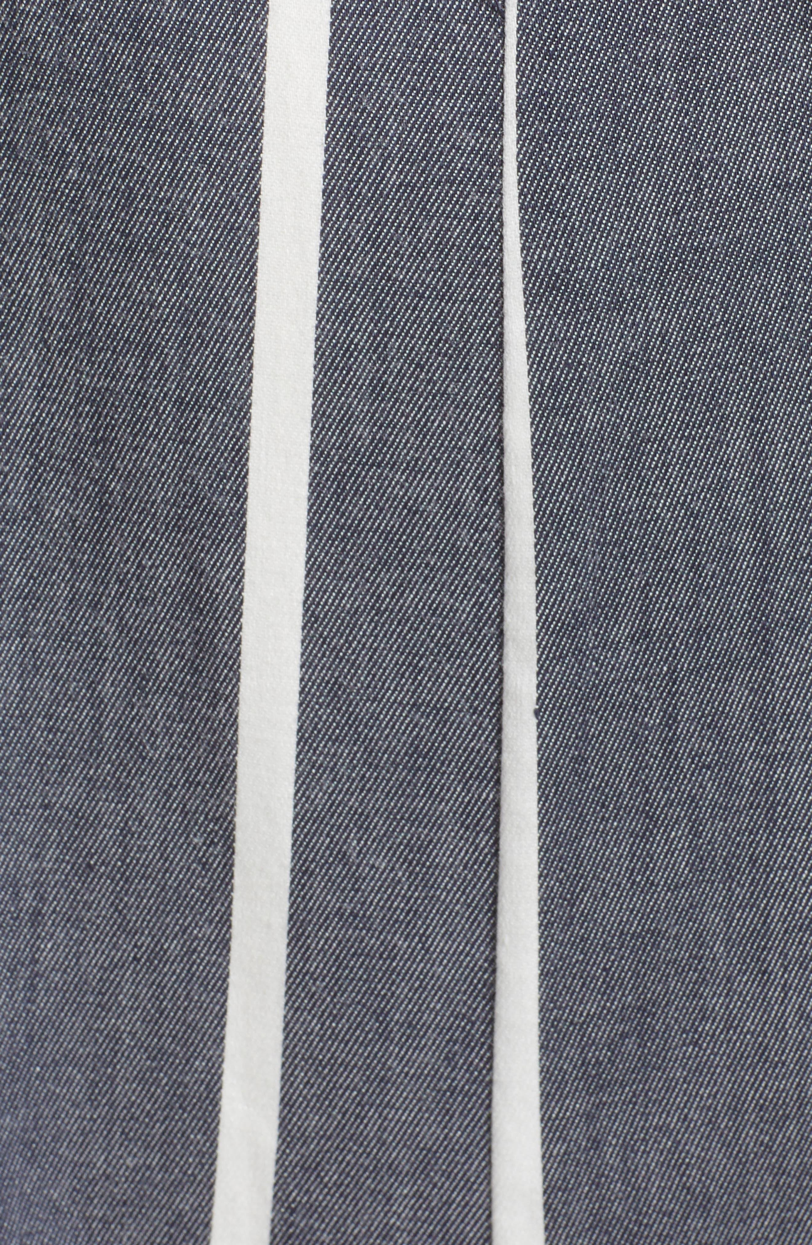 Double Tie Front Jumpsuit,                             Alternate thumbnail 5, color,                             Denim/ White