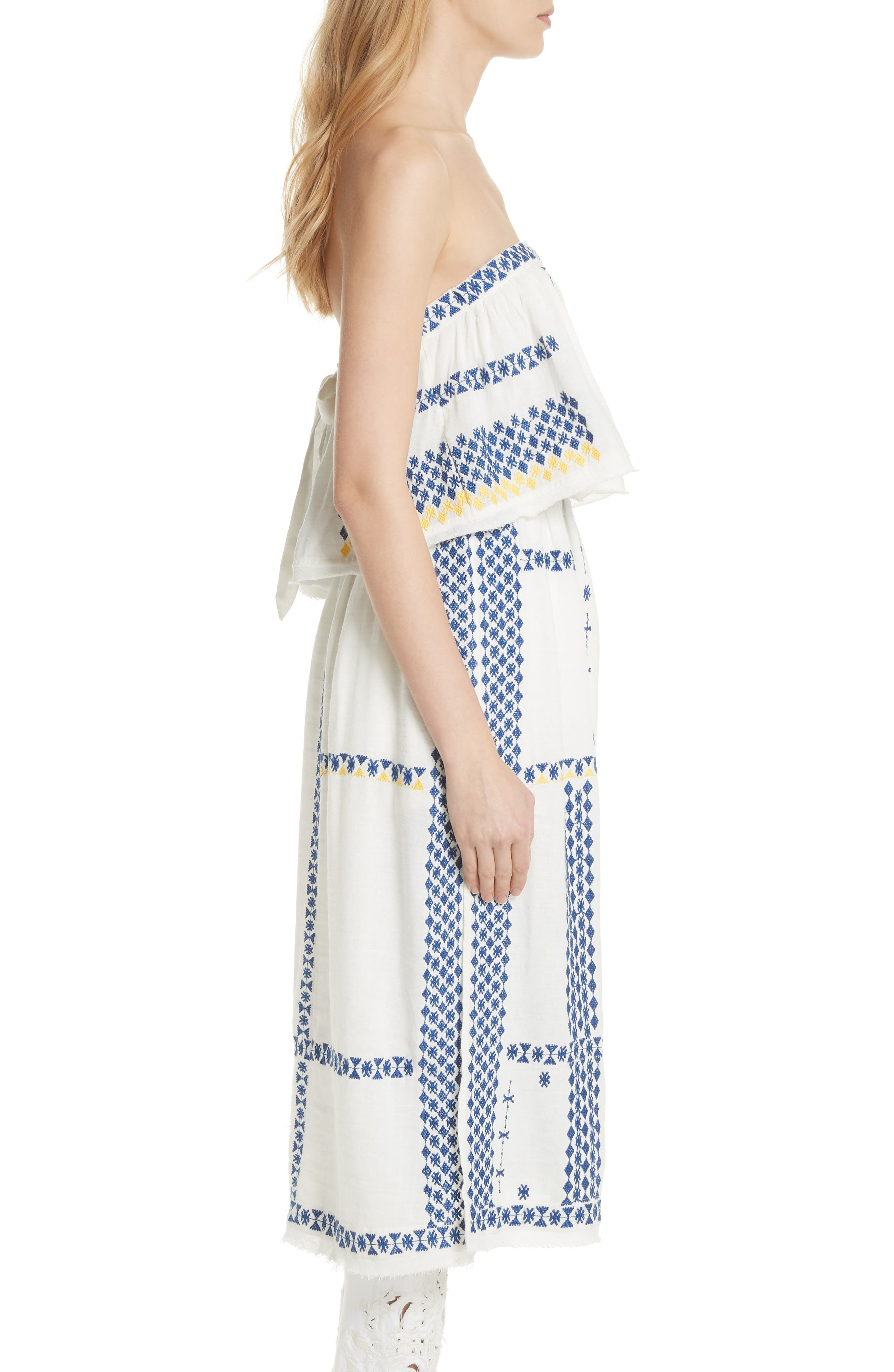 Wild Romance Embroidered Dress,                             Alternate thumbnail 3, color,                             Ivory