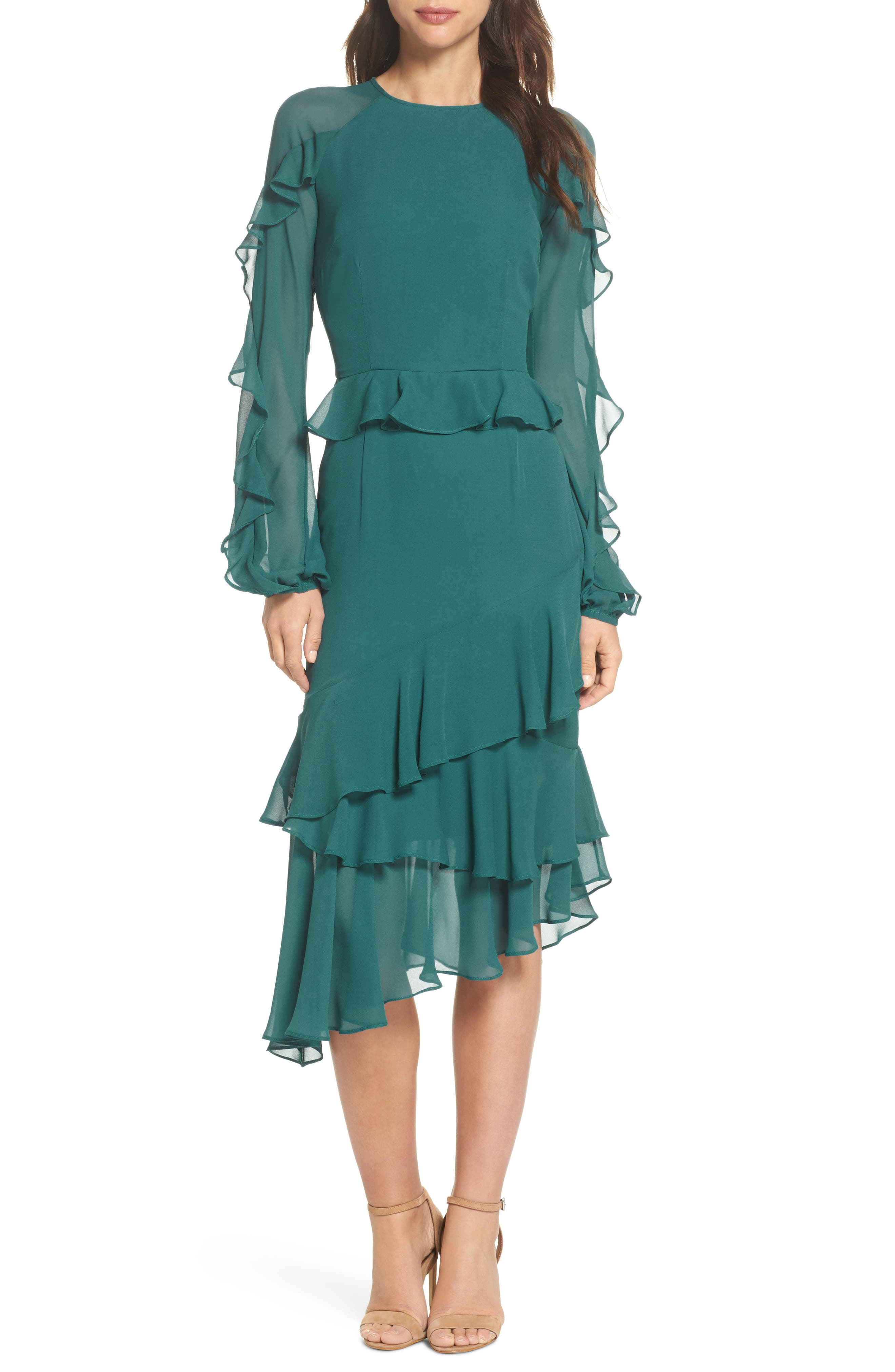 Dawn Drift Ruffle Midi Dress,                             Main thumbnail 1, color,                             North Sea